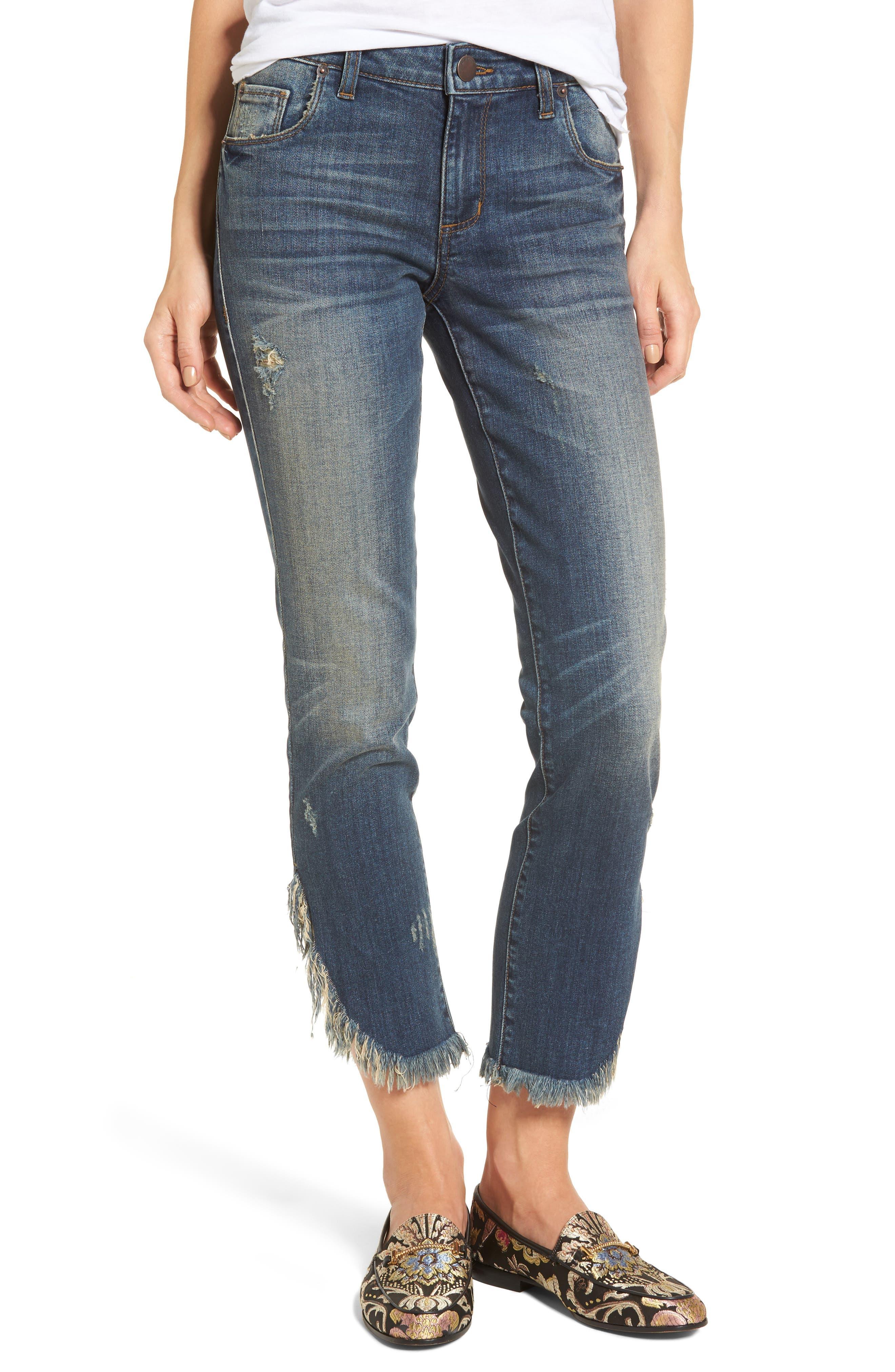 Emma Fray Tulip Hem Skinny Jeans,                             Main thumbnail 1, color,                             Nelson