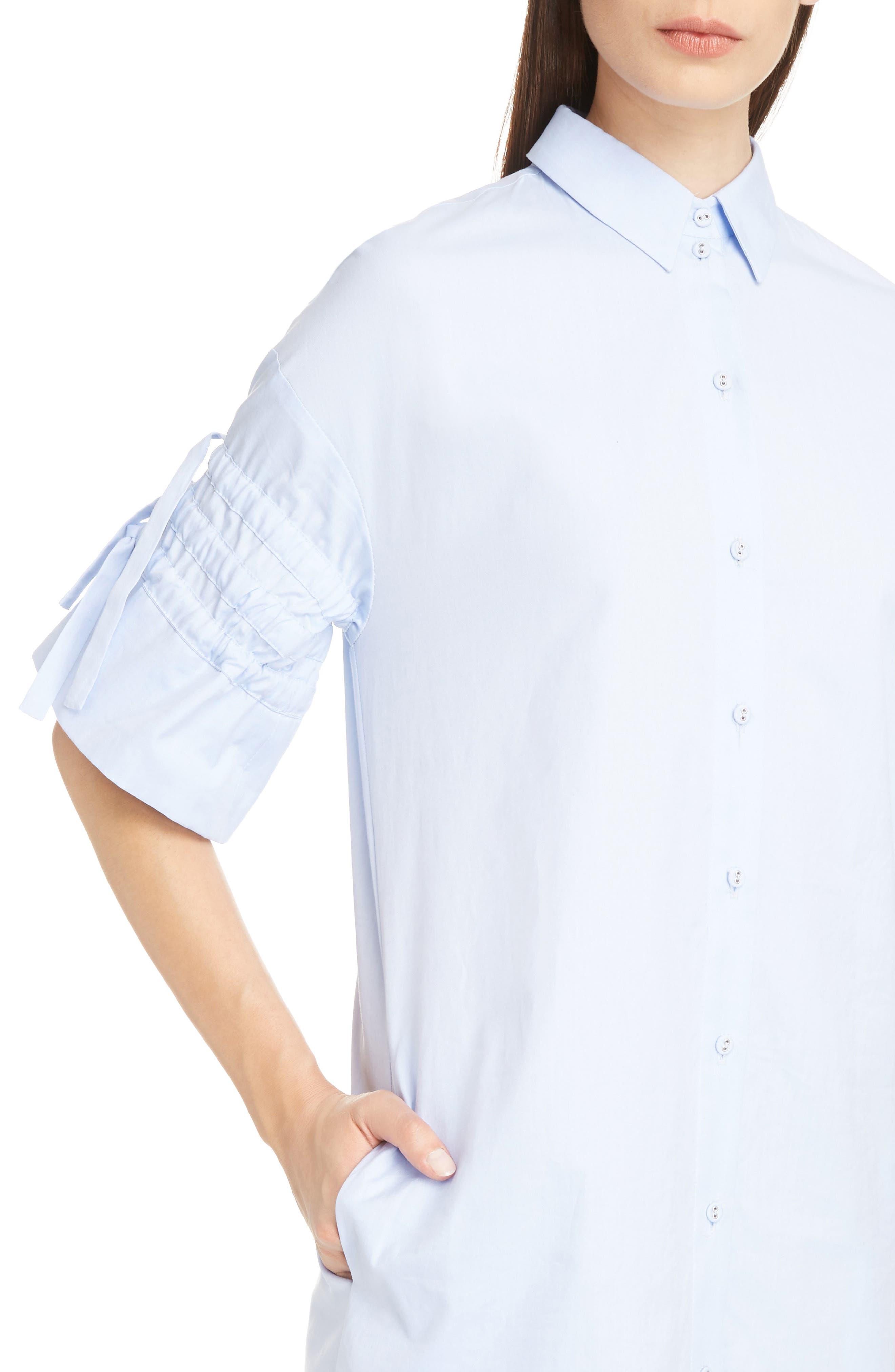 Victoria Victoria Beckham Gathered Sleeve Shirtdress,                             Alternate thumbnail 4, color,                             Oxford Blue
