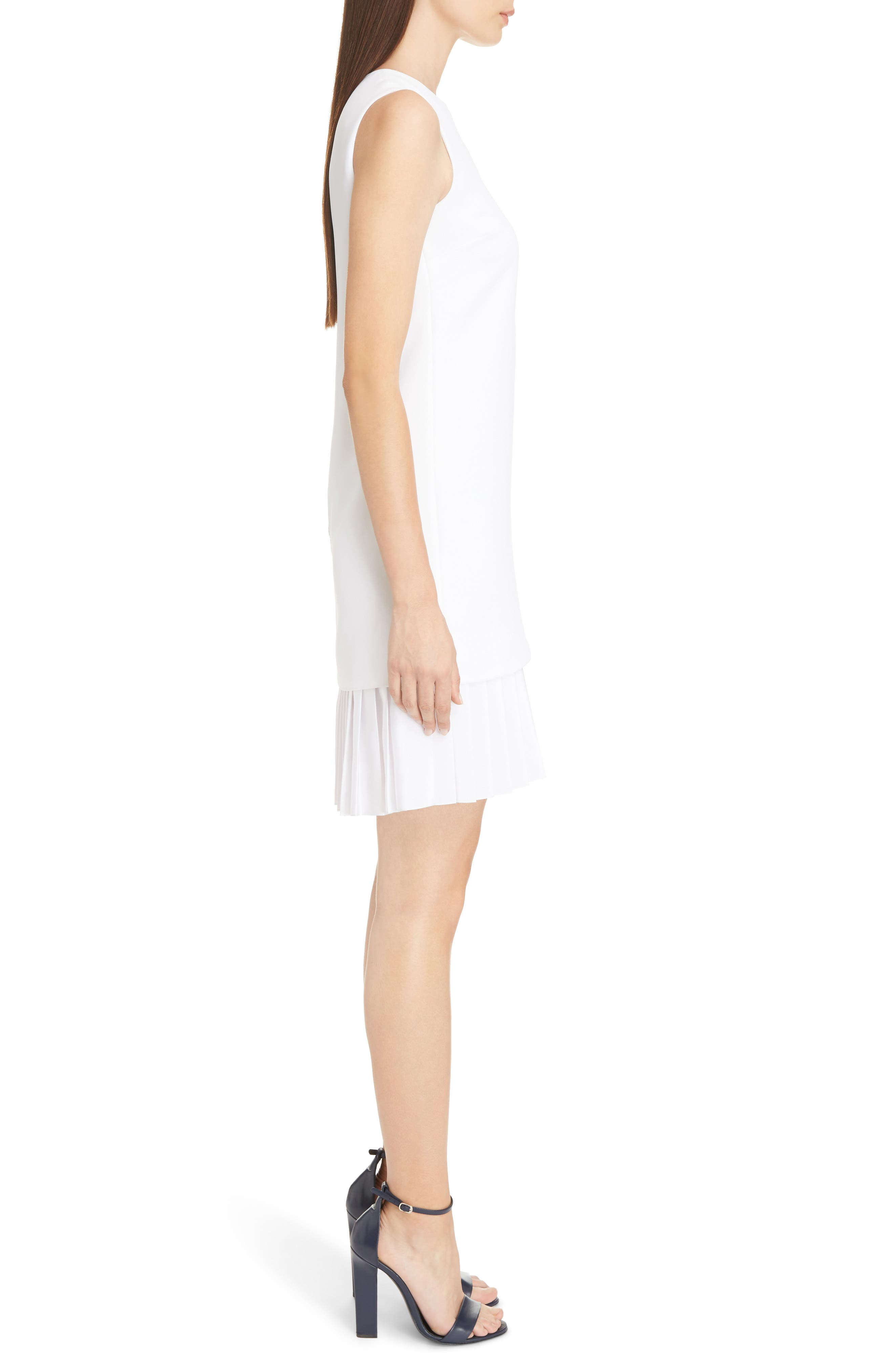 Victoria Victoria Beckham Pleated Hem Shift Dress,                             Alternate thumbnail 3, color,                             Optic White