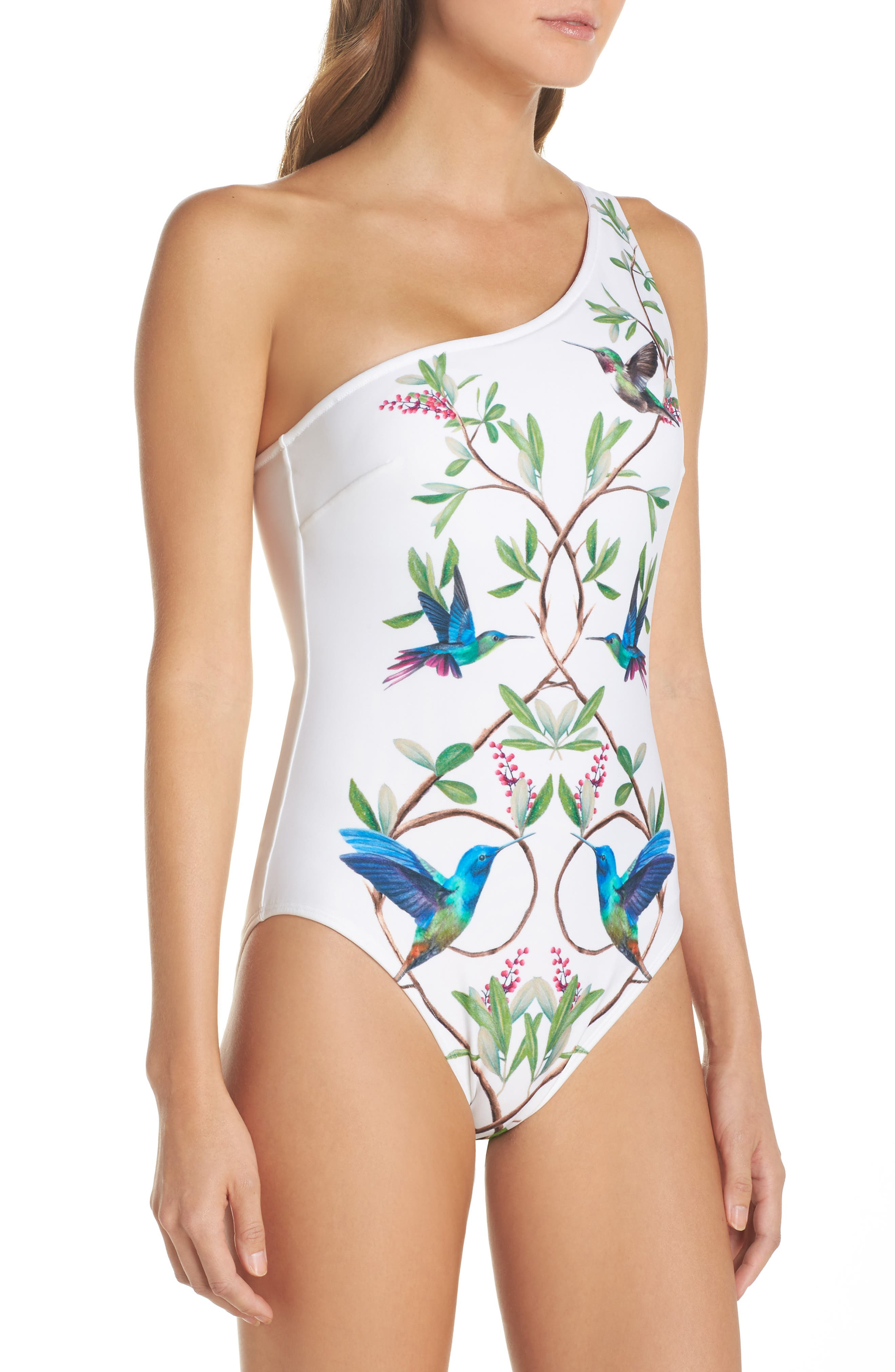 High Grove One-Piece Swimsuit,                             Alternate thumbnail 3, color,                             White