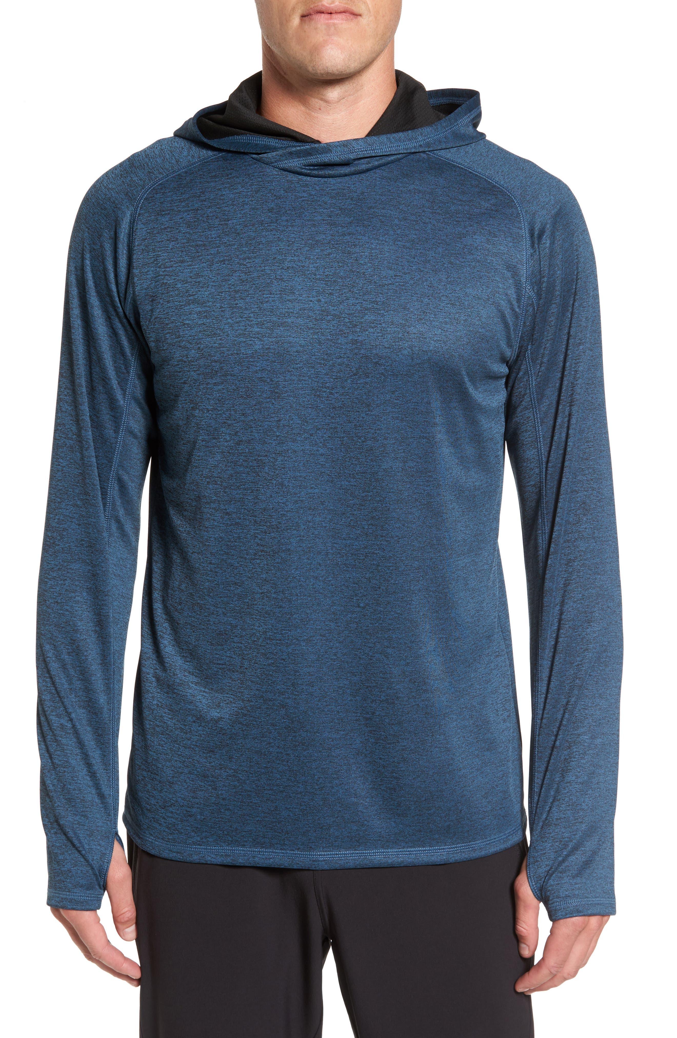 Lightweight Pullover Hoodie,                         Main,                         color, Blue Chrome Melange