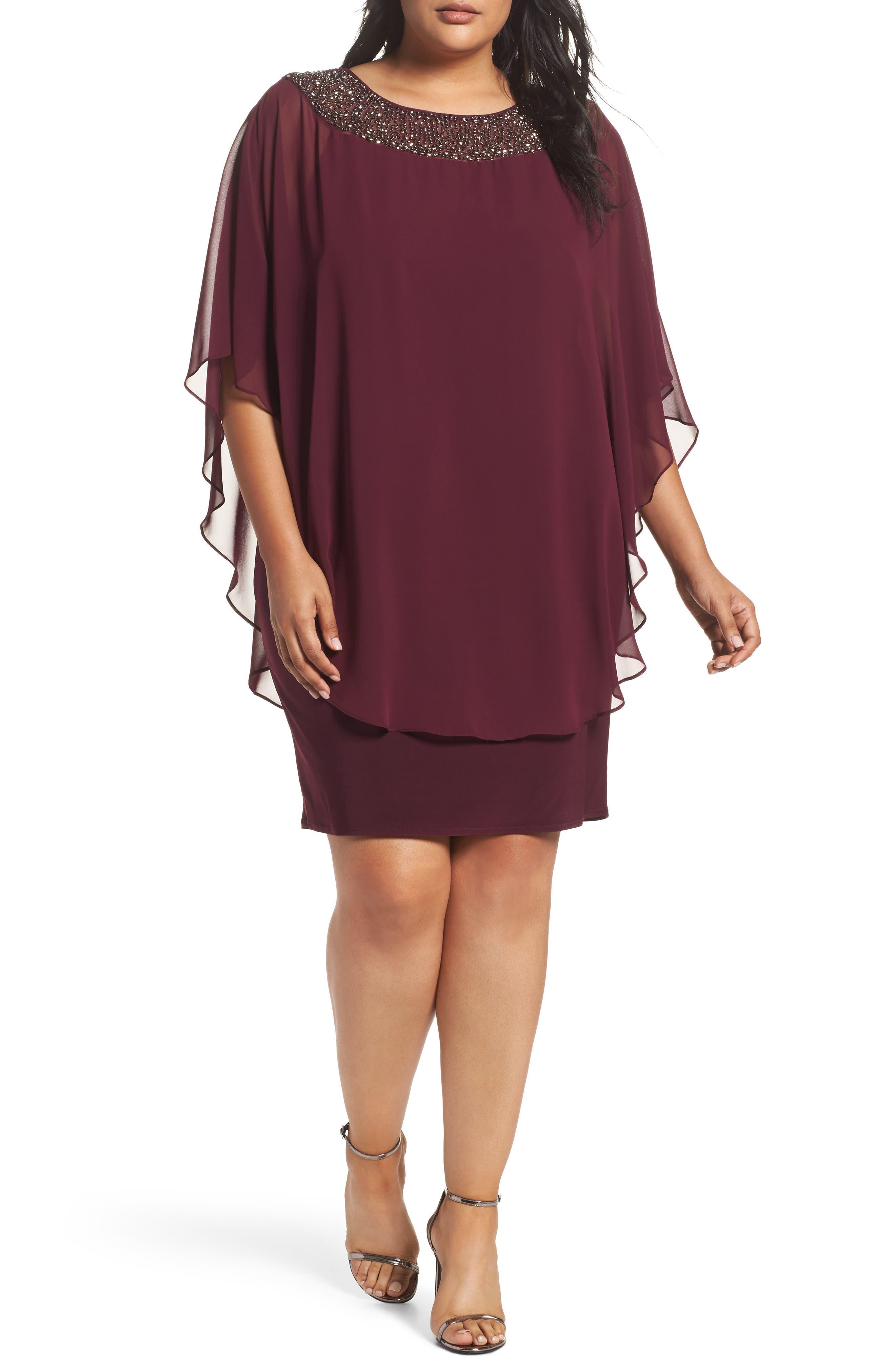 Embellished Chiffon Overlay Jersey Sheath Dress,                         Main,                         color, Wine/ Antique