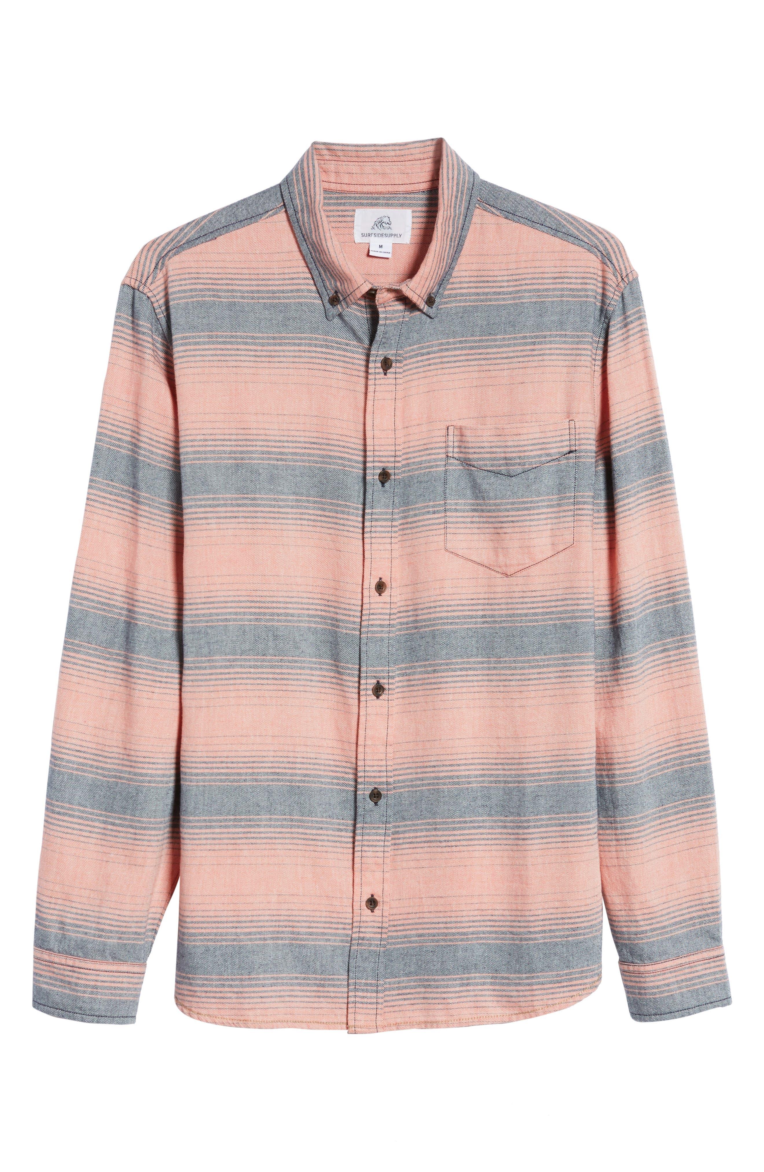Alternate Image 6  - Surfside Supply Brushed Stripe Sport Shirt