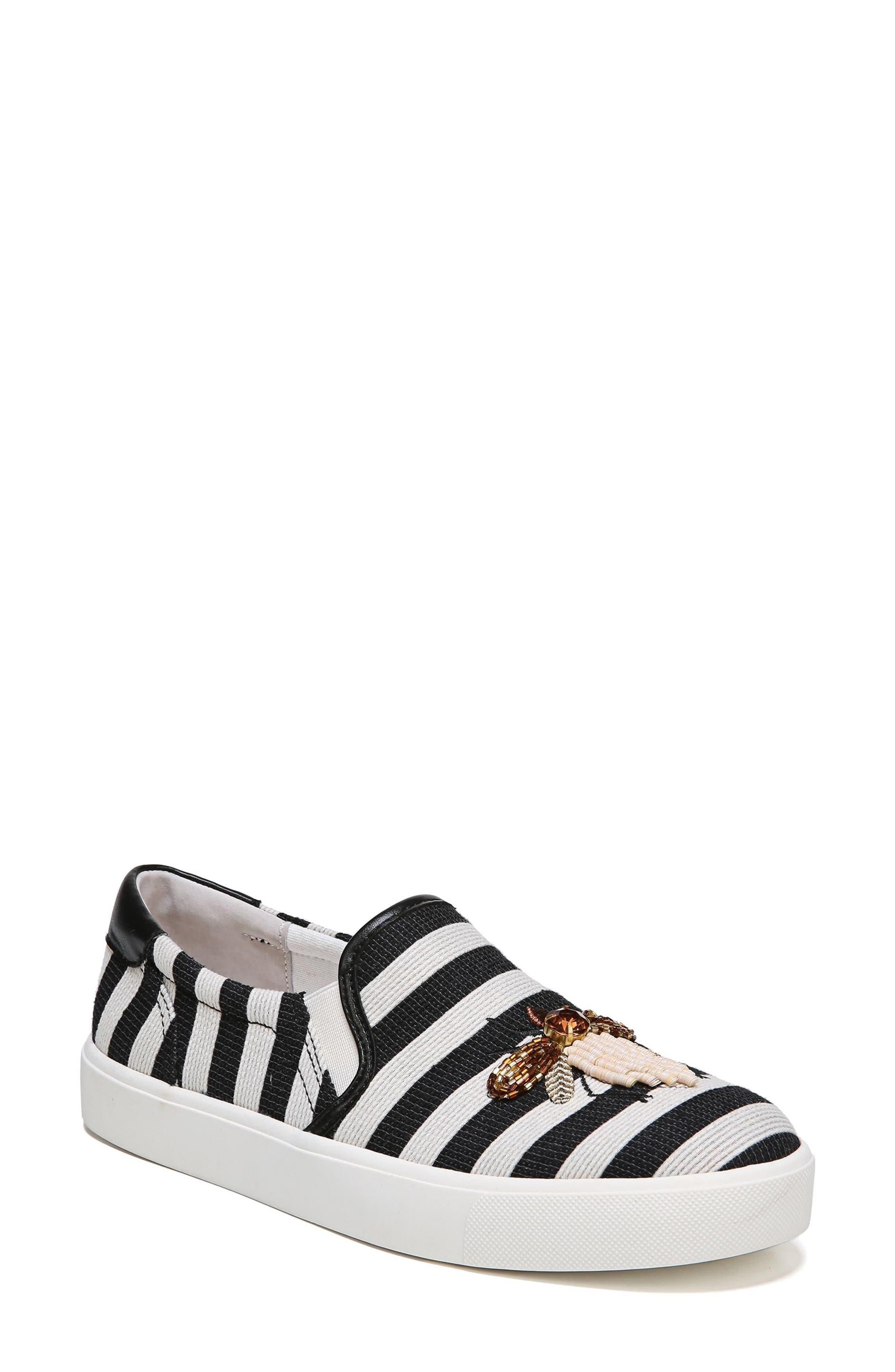 Evelina Slip-On,                         Main,                         color, Black Stripe Nappa Leather