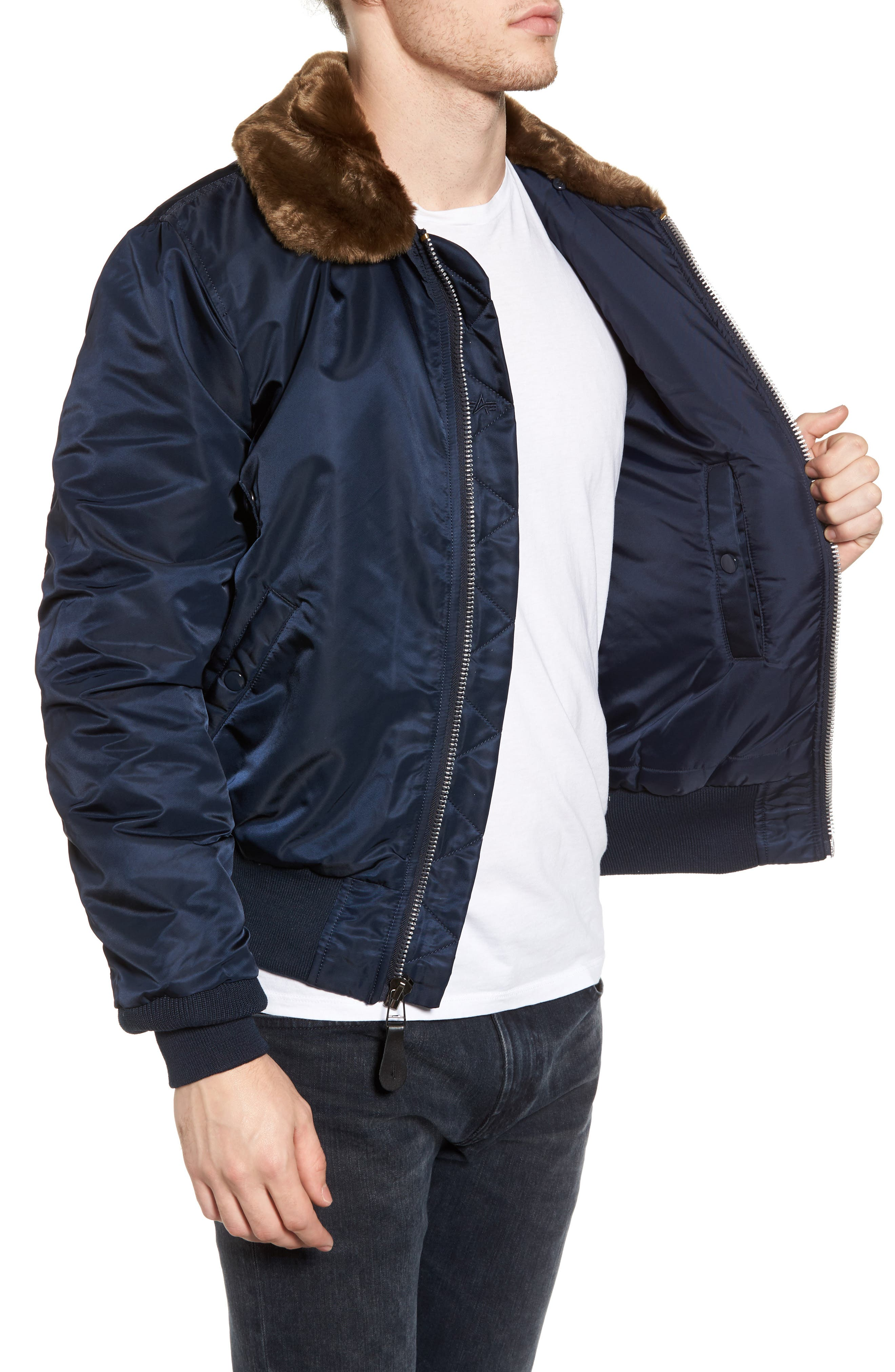 Alternate Image 3  - Alpha Industries B-15 Removable Faux Fur Collar Flight Jacket