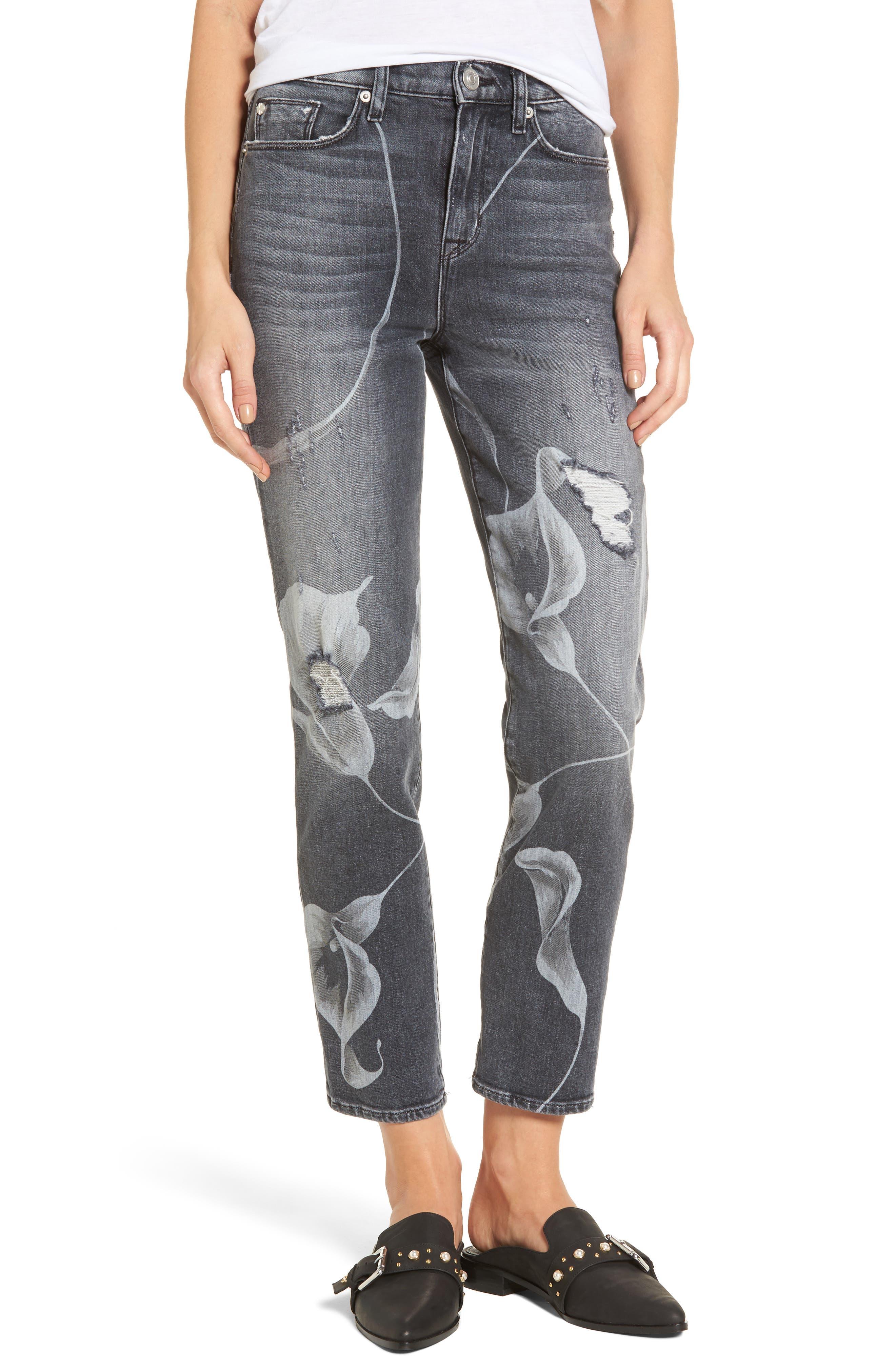 Zoeey High Waist Crop Straight Leg Jeans,                         Main,                         color, Noir In Bloom