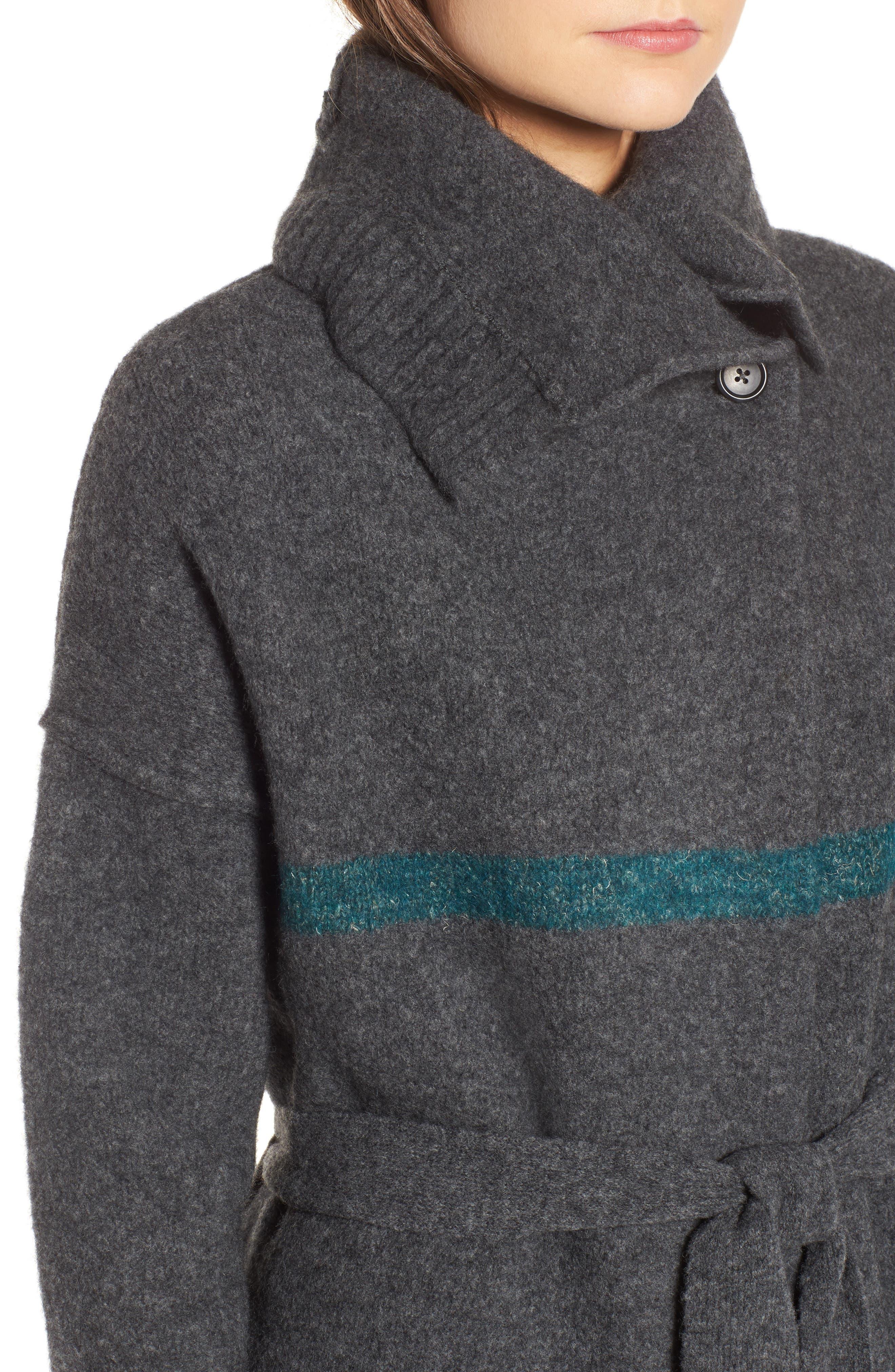 Belted Blanket Stripe Coat,                             Alternate thumbnail 4, color,                             Ash/ Val/ Imp/ Ant