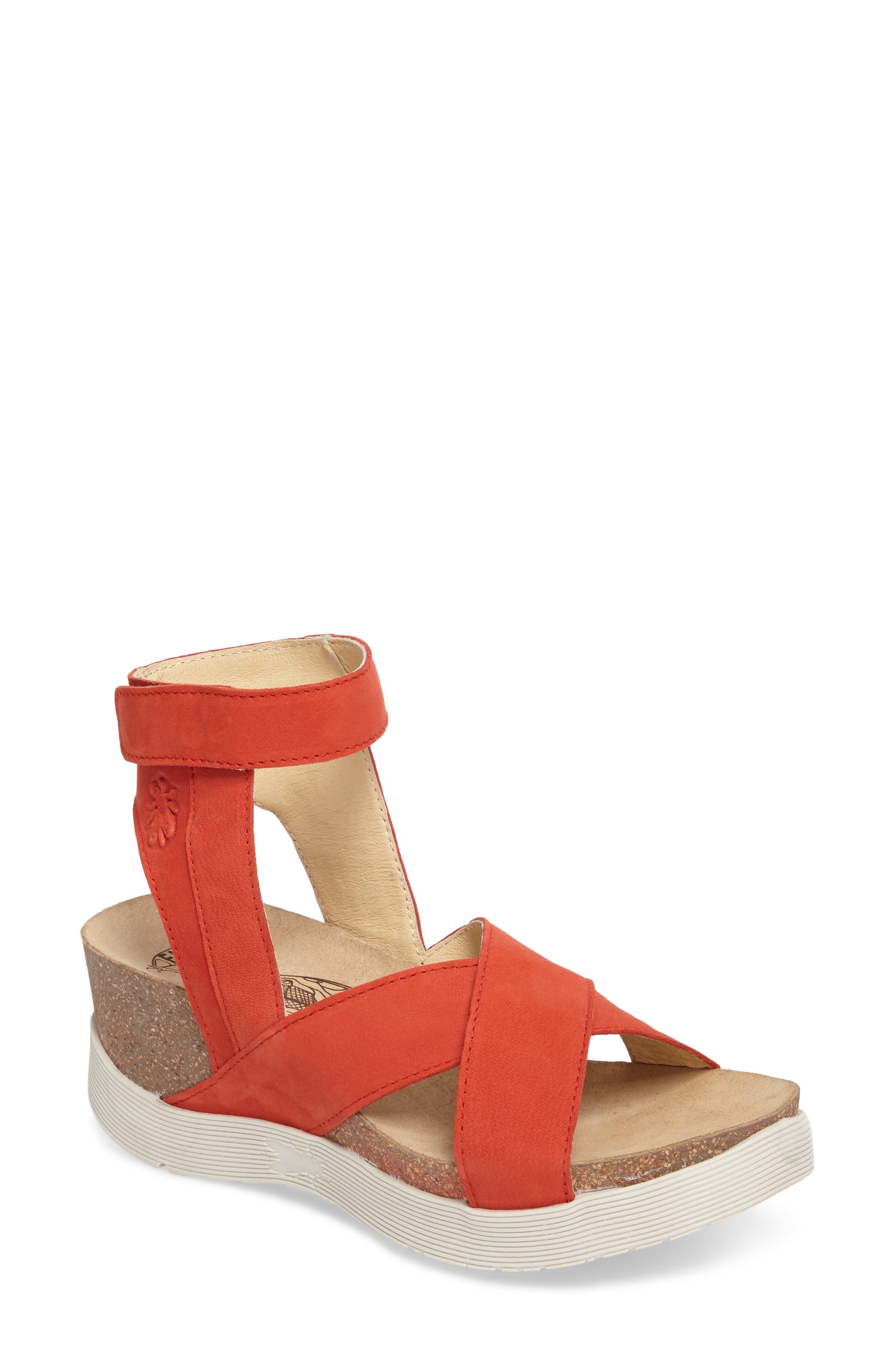 Weel Nubuck Leather Platform Sandal,                         Main,                         color, Scarlet Nubuck Leather