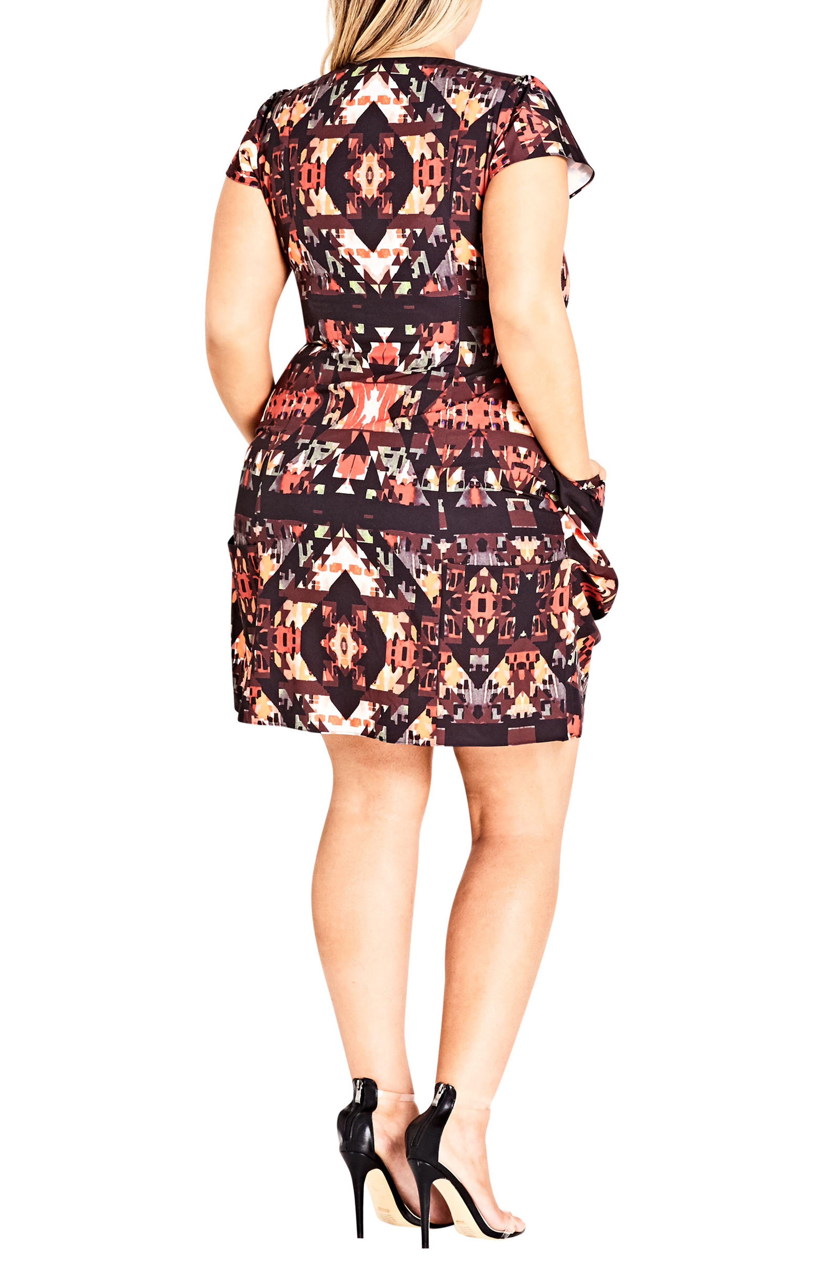 Geo Print Tunic Dress,                             Alternate thumbnail 2, color,                             Black