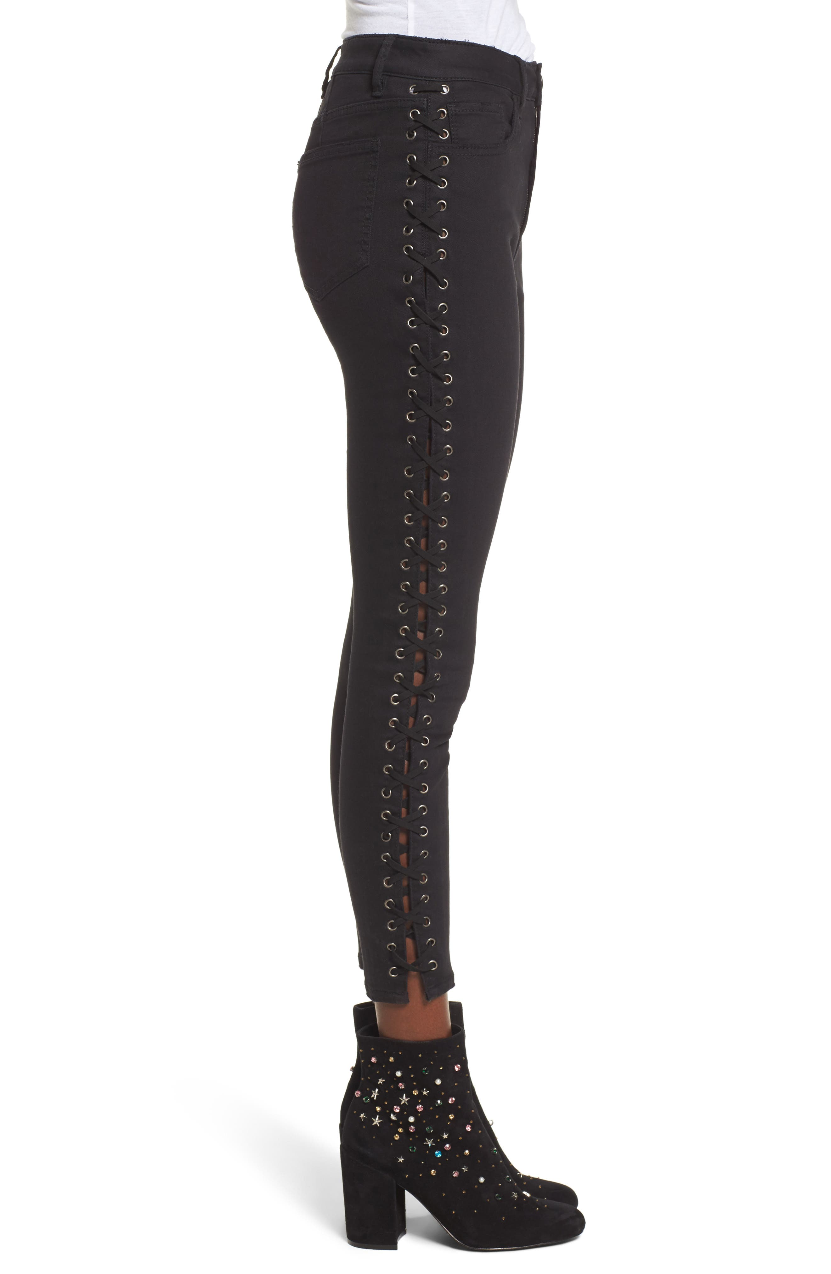 Lace-Up Skinny Jeans,                             Alternate thumbnail 3, color,                             Black Rinse Wash