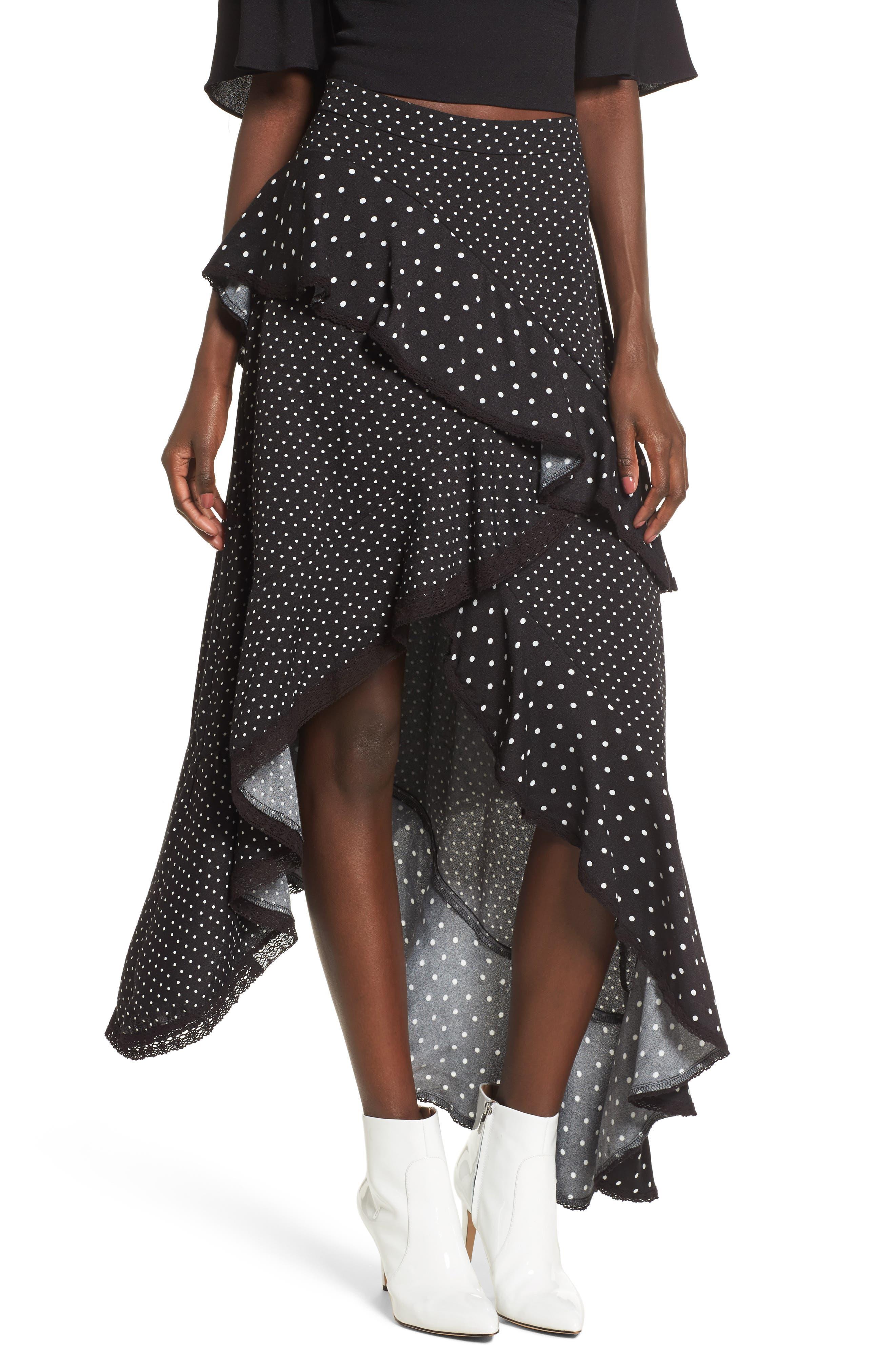 Grace Asymmetrical Ruffle Skirt,                             Main thumbnail 1, color,                             Noir Polka Dot