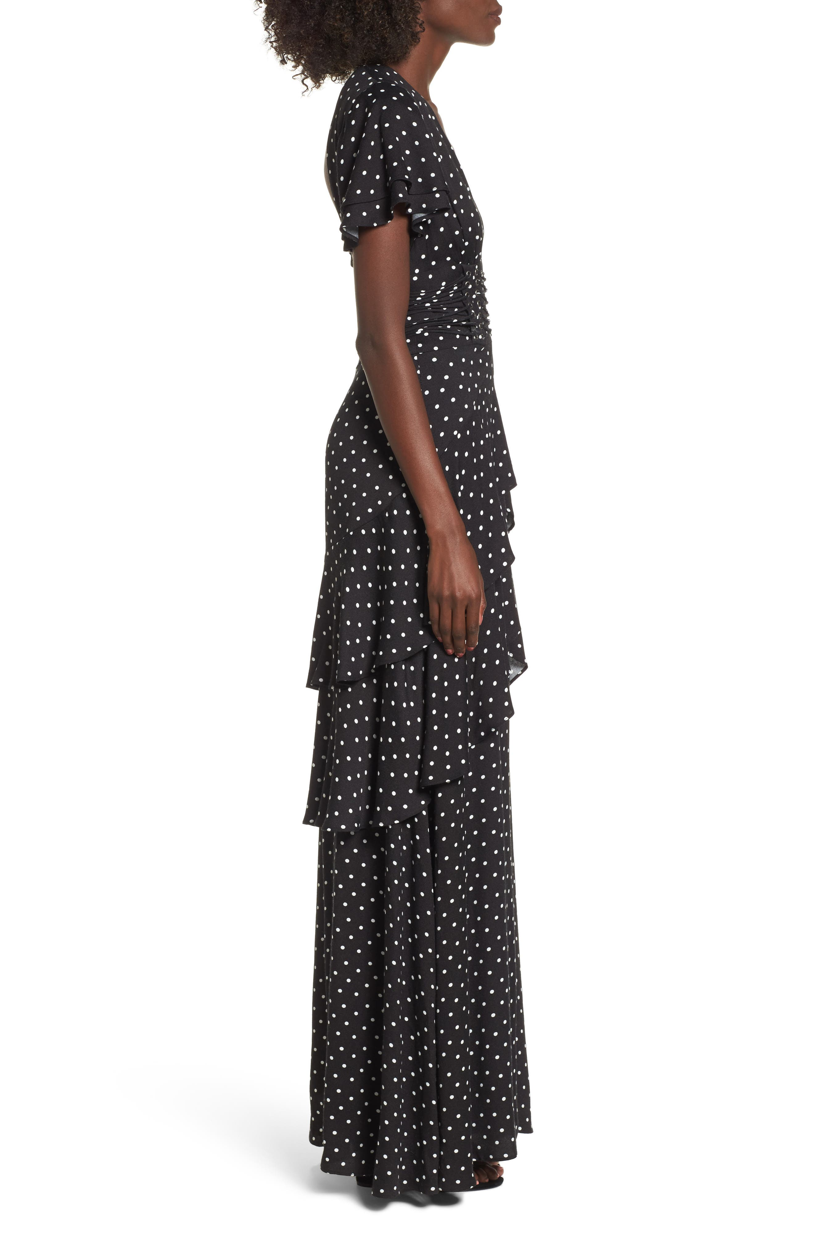 Micah Corset Maxi Dress,                             Alternate thumbnail 3, color,                             Noir Polka Dot