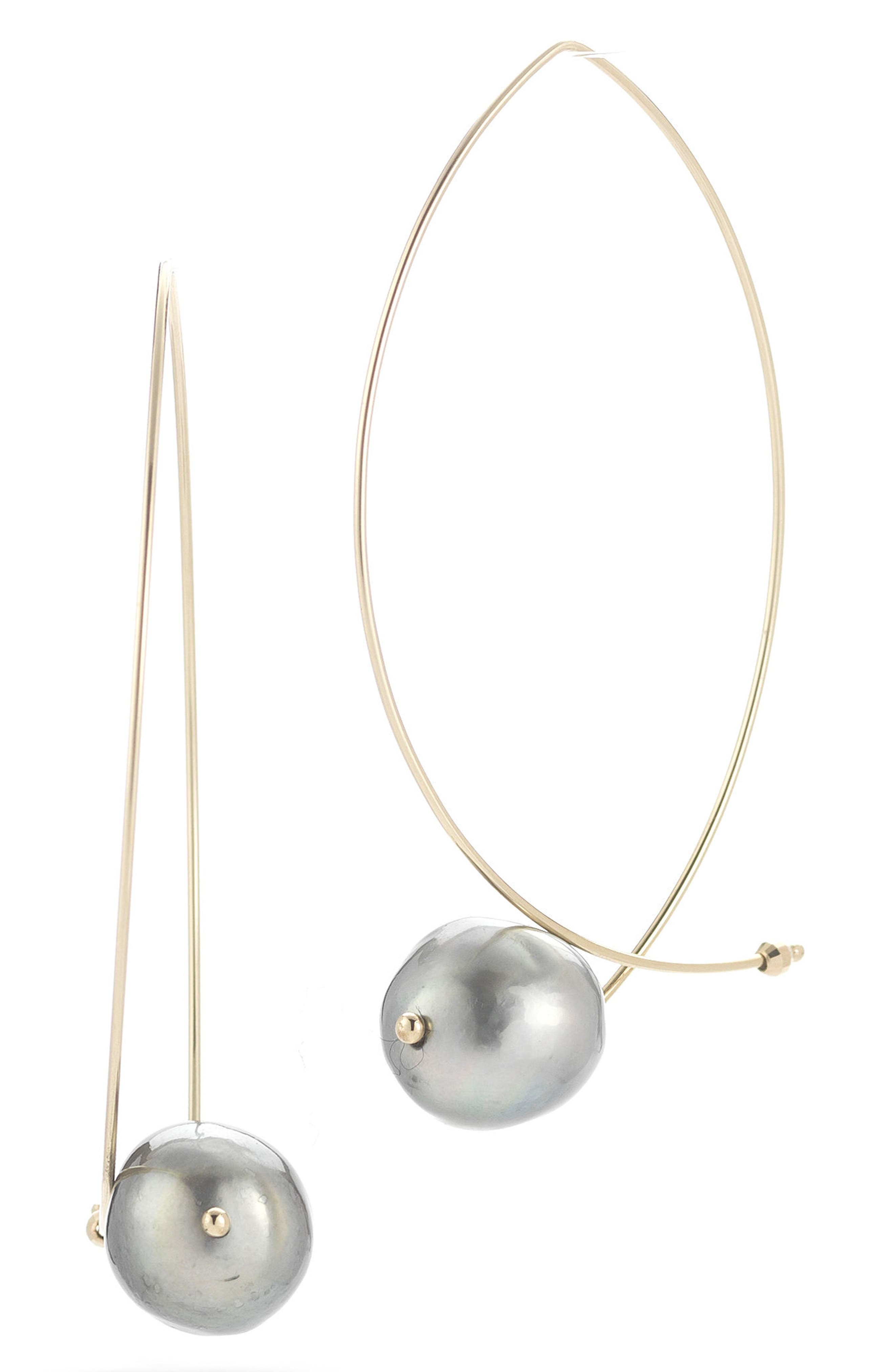 Sea of Beauty Tahitian Pearl Hoop Earrings,                         Main,                         color, Yellow Gold/ Gblack Pearl
