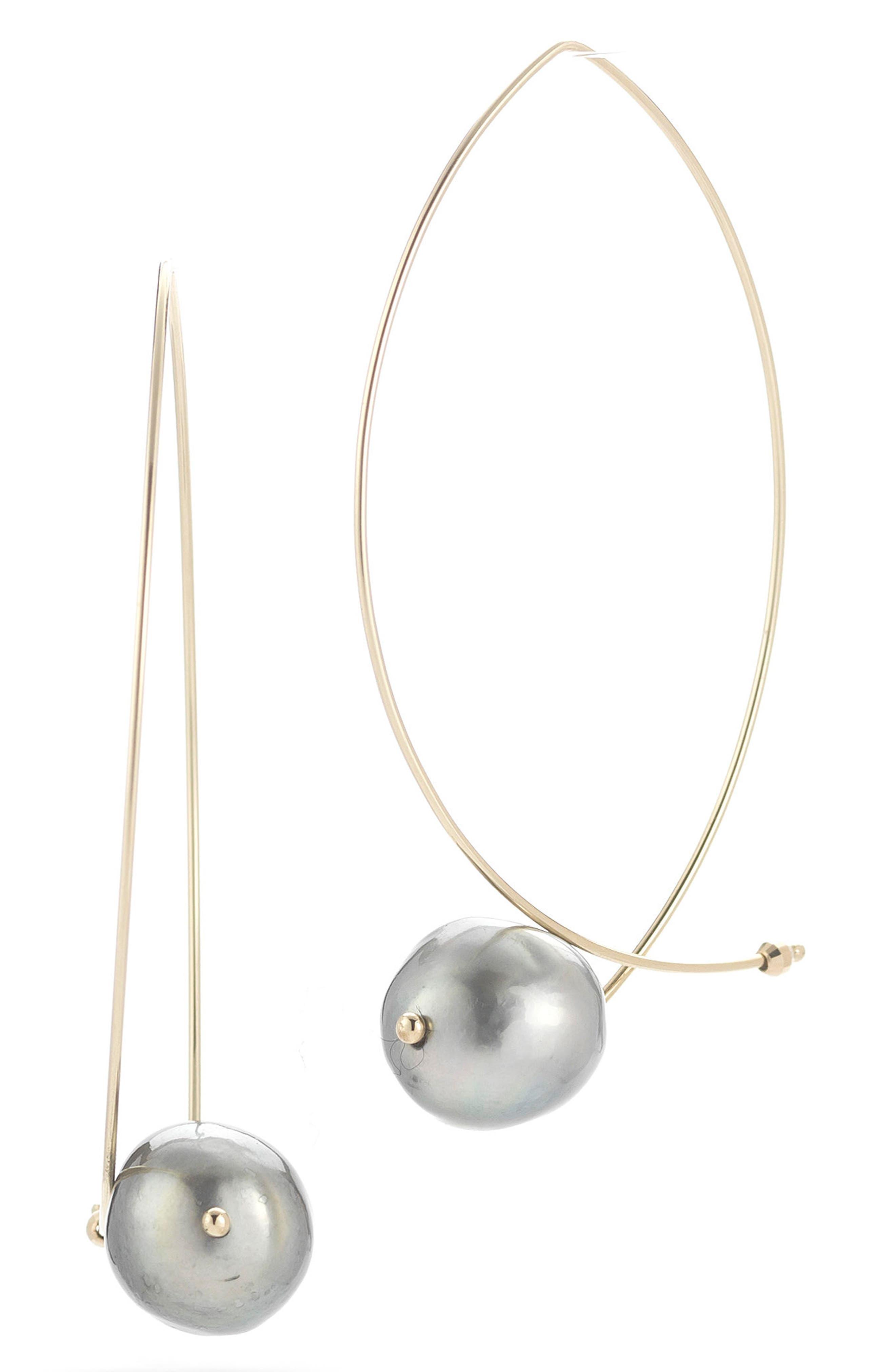 Sea of Beauty Tahitian Pearl Hoop Earrings,                         Main,                         color, Yellow Gold/ Gblack Pearl