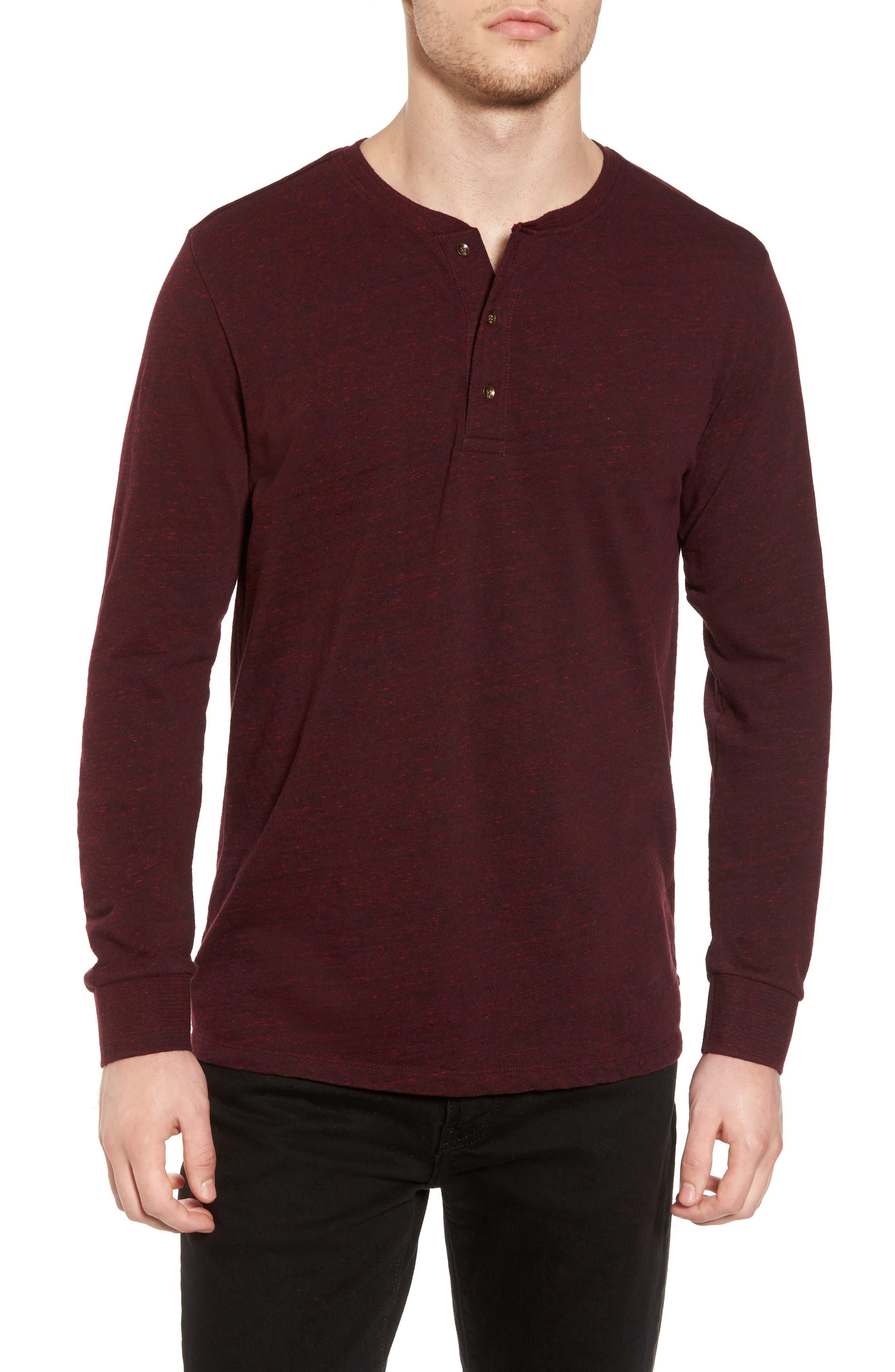 Grandad Henley T-Shirt,                         Main,                         color, Oxblood Melange