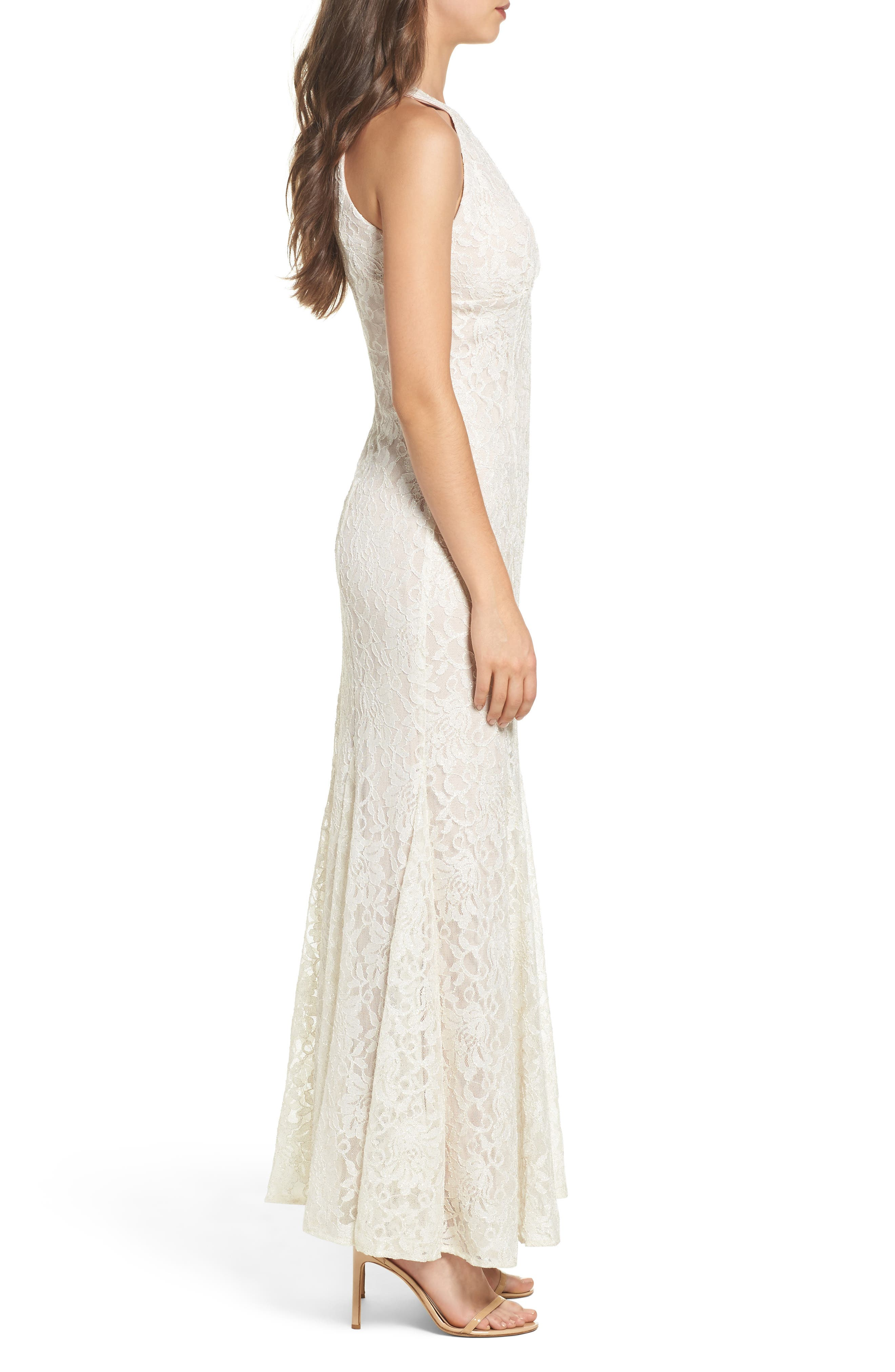 Scallop Detail Lace Gown,                             Alternate thumbnail 3, color,                             Ivory/ Nude