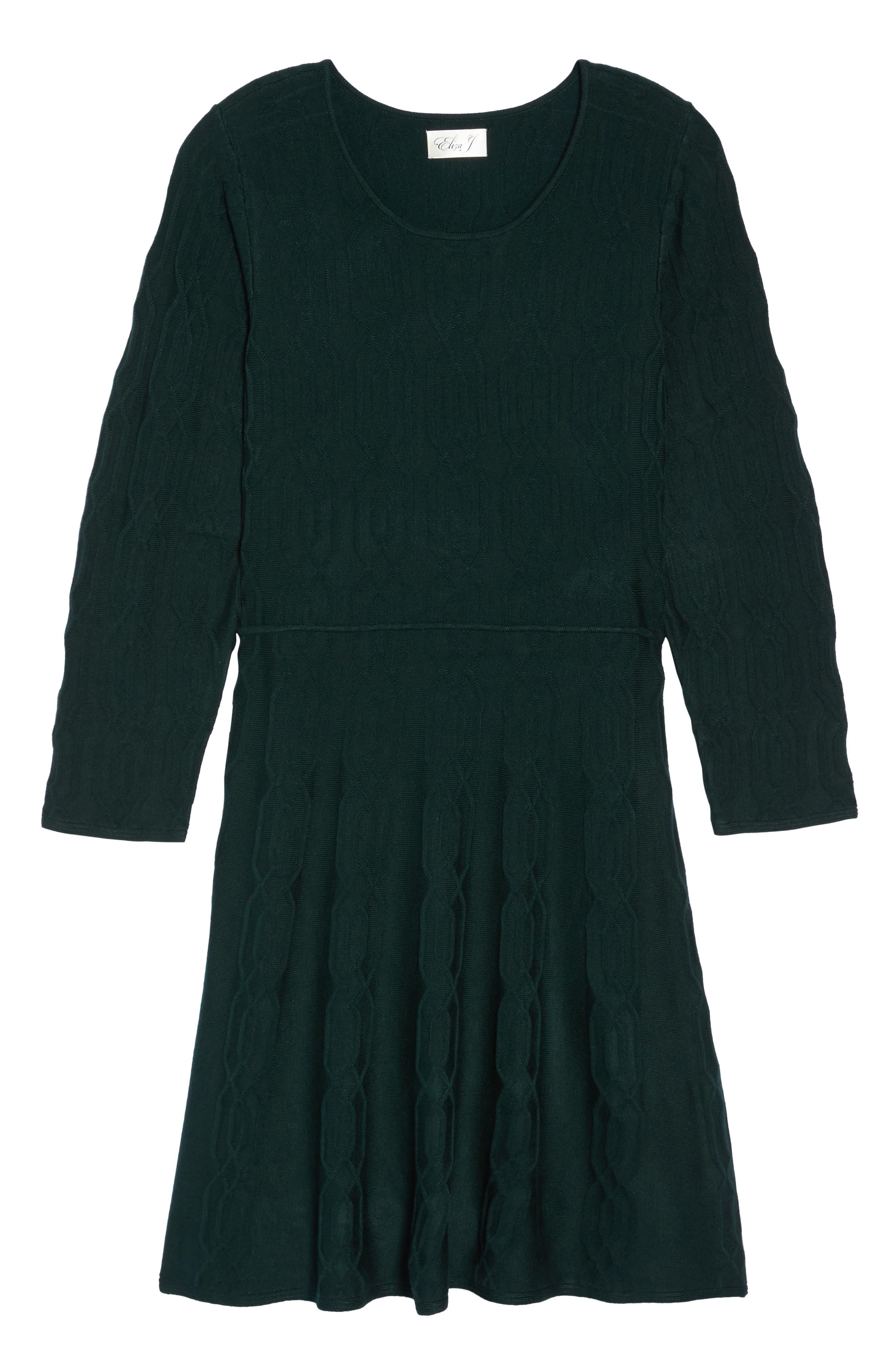 Jacquard Knit Fit & Flare Dress,                             Alternate thumbnail 6, color,                             Green