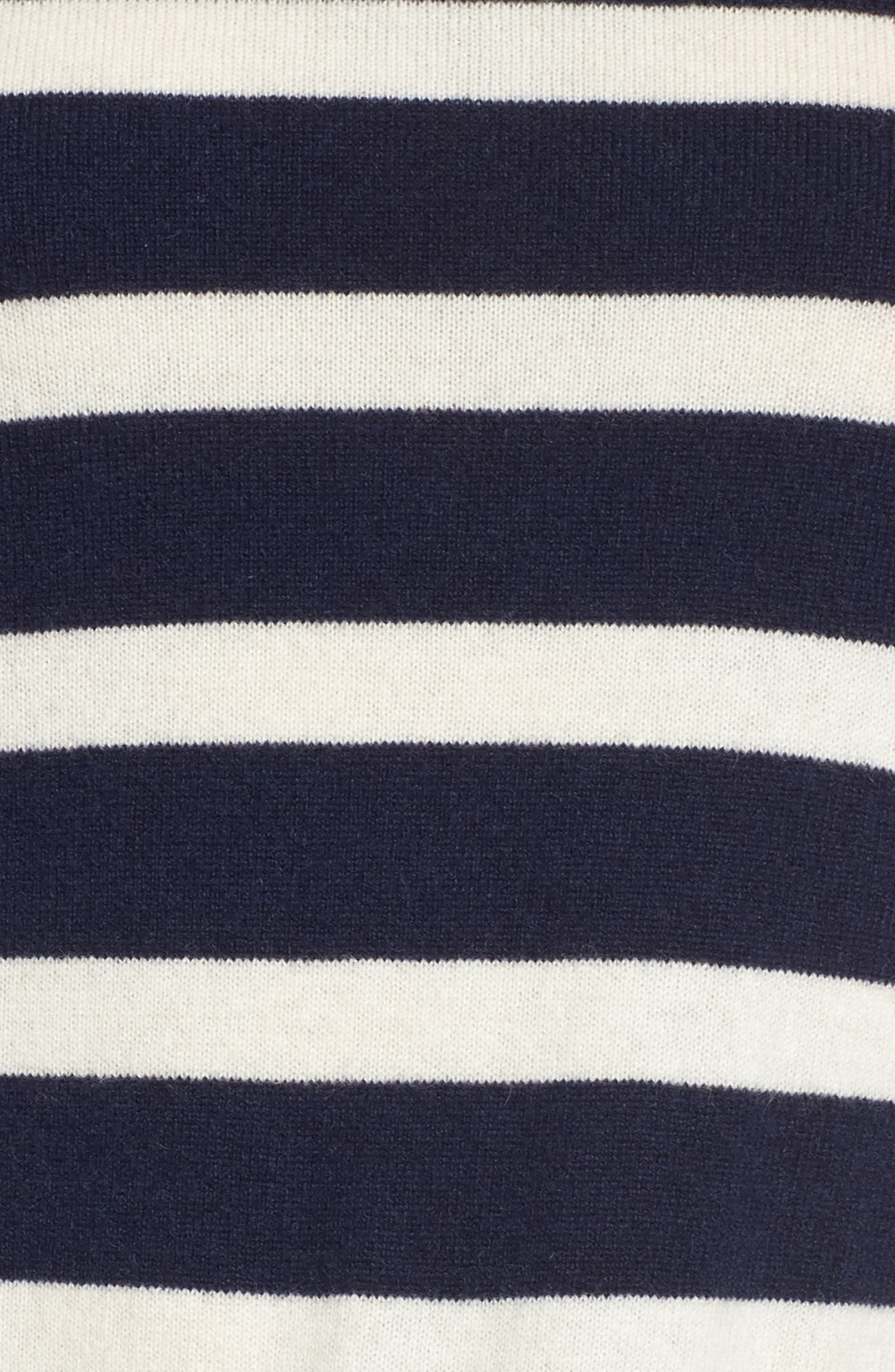 Ruffle Stripe Cashmere Sweater,                             Alternate thumbnail 5, color,                             Navy- Ivory Wide Stripe