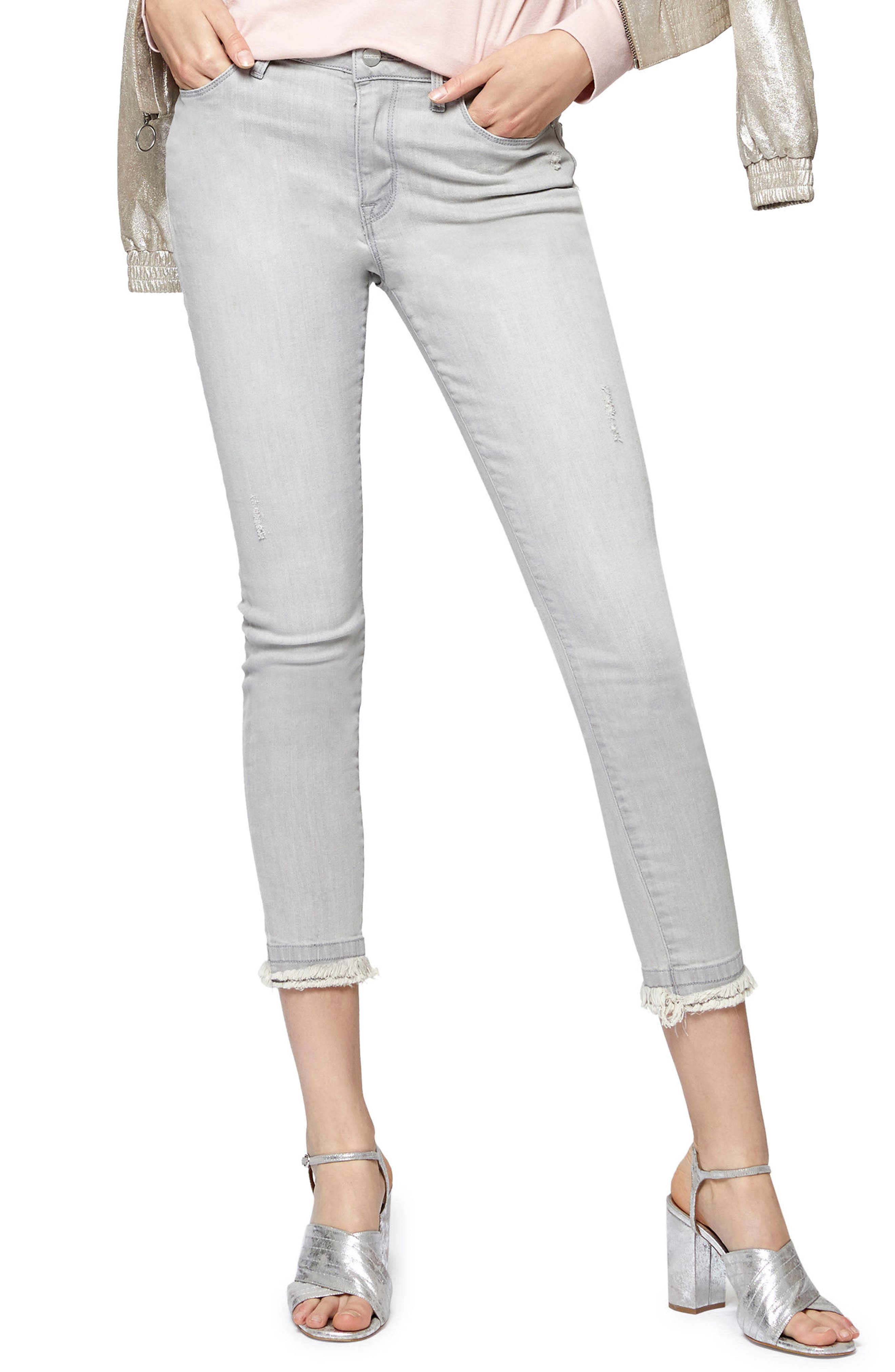 Saige Double Fray Ankle Jeans,                             Alternate thumbnail 3, color,                             Greyson