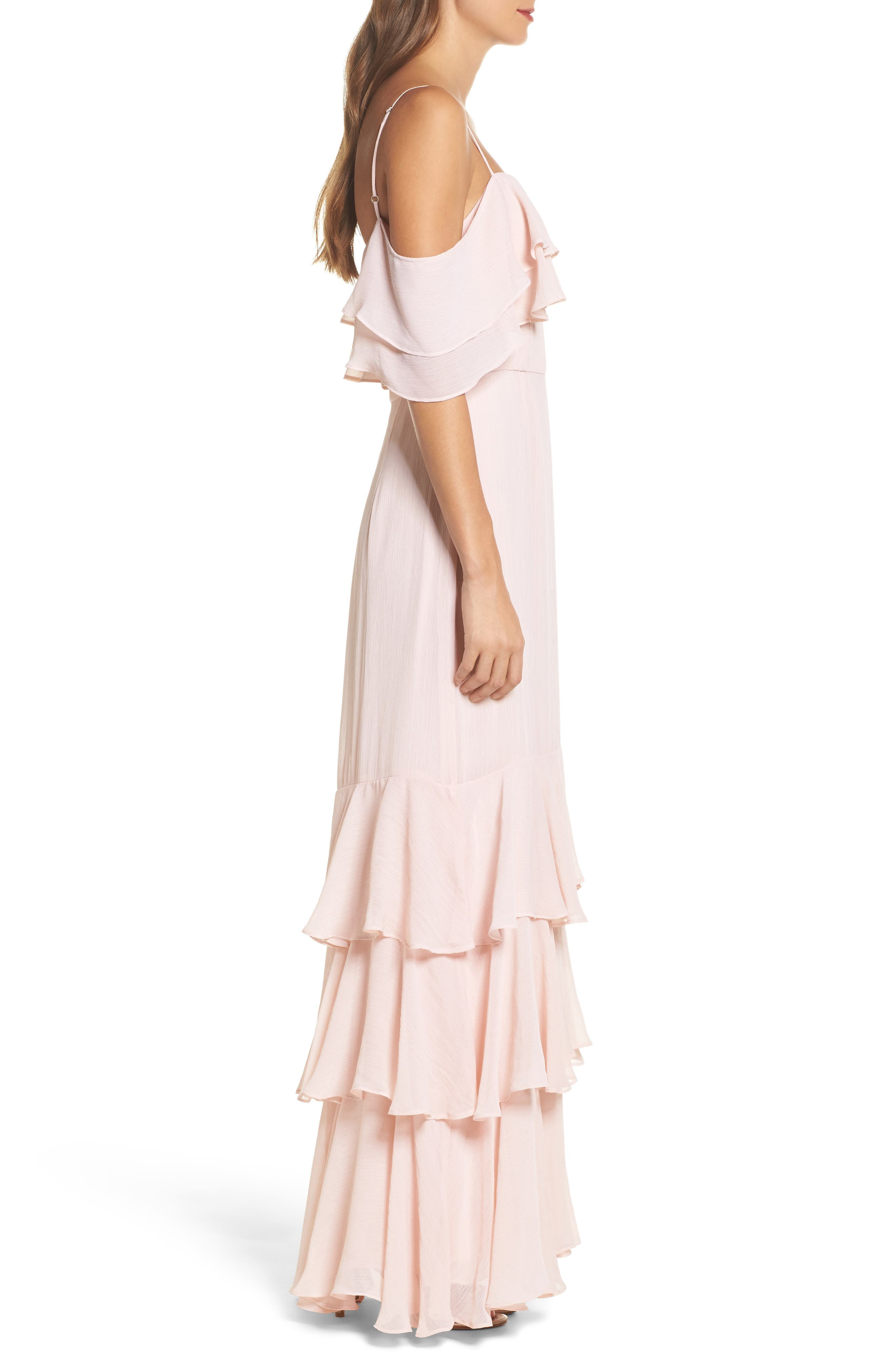 Lauren Cold Shoulder Tiered Gown,                             Alternate thumbnail 3, color,                             Sandalwood
