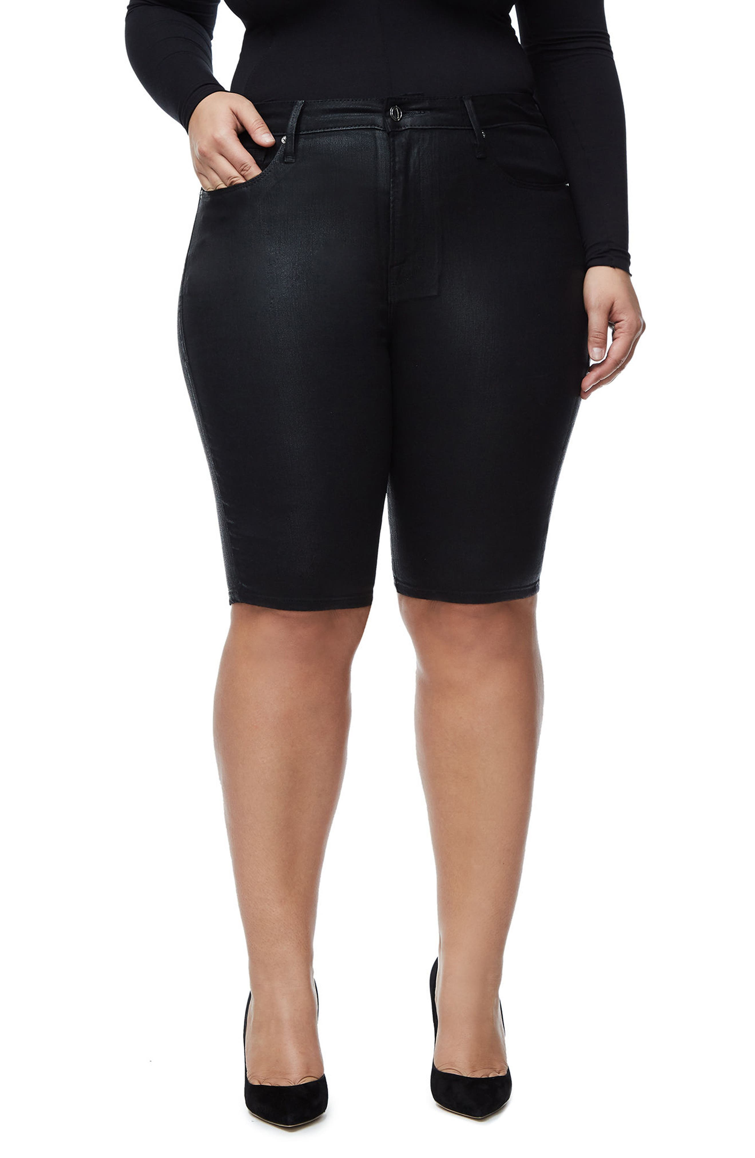 The Waxed Bermuda High Waist Shorts,                             Alternate thumbnail 4, color,                             Black