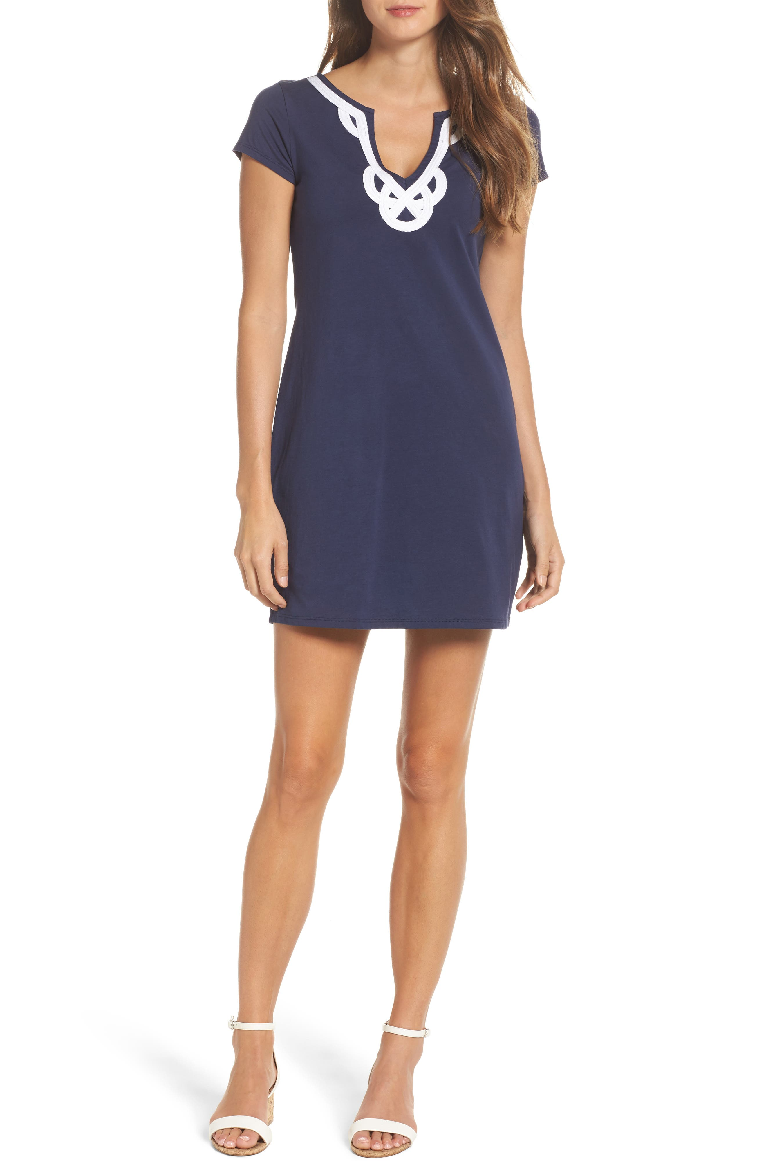 'Brewster' Contrast Trim T-Shirt Dress,                         Main,                         color, True Navy