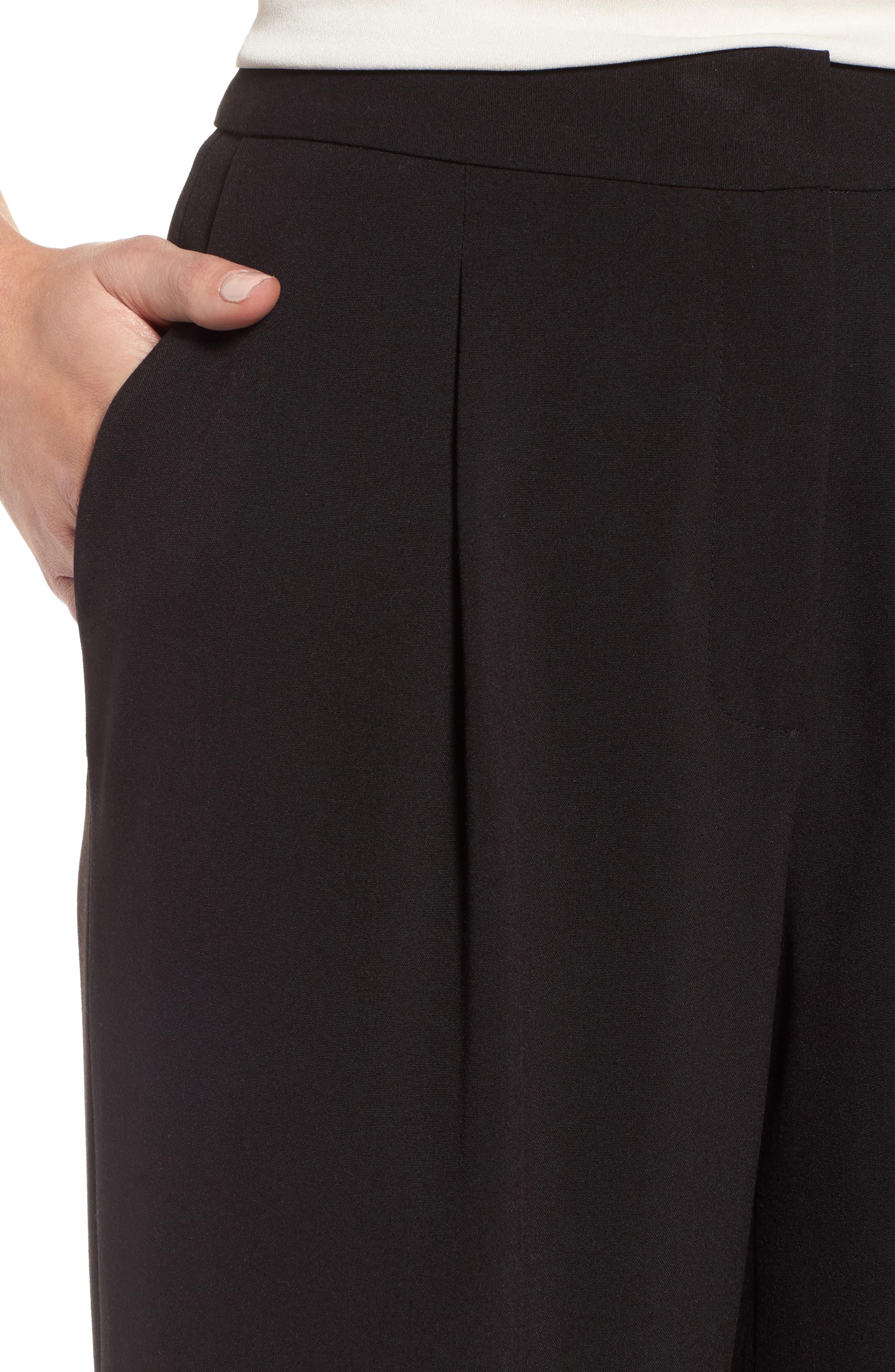 Notch Back Wide Leg Pants,                             Alternate thumbnail 4, color,                             Black