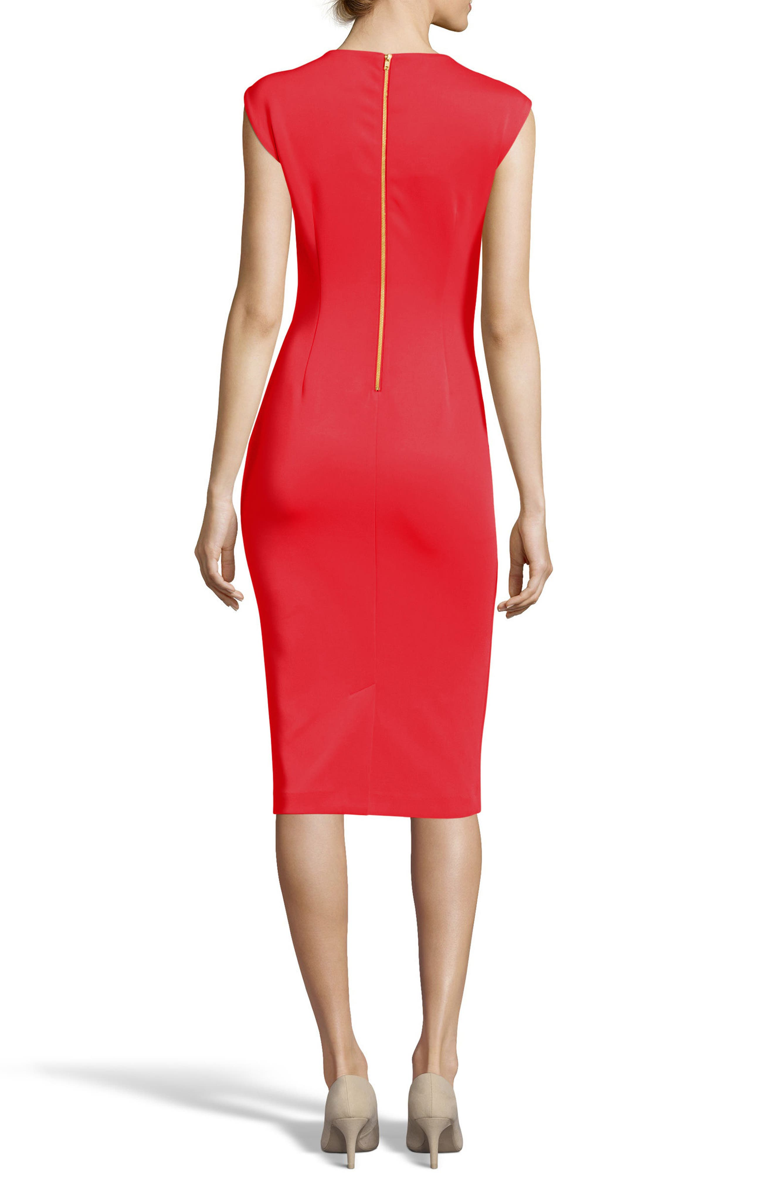 Notch Neck Sheath Dress,                             Alternate thumbnail 2, color,                             Red