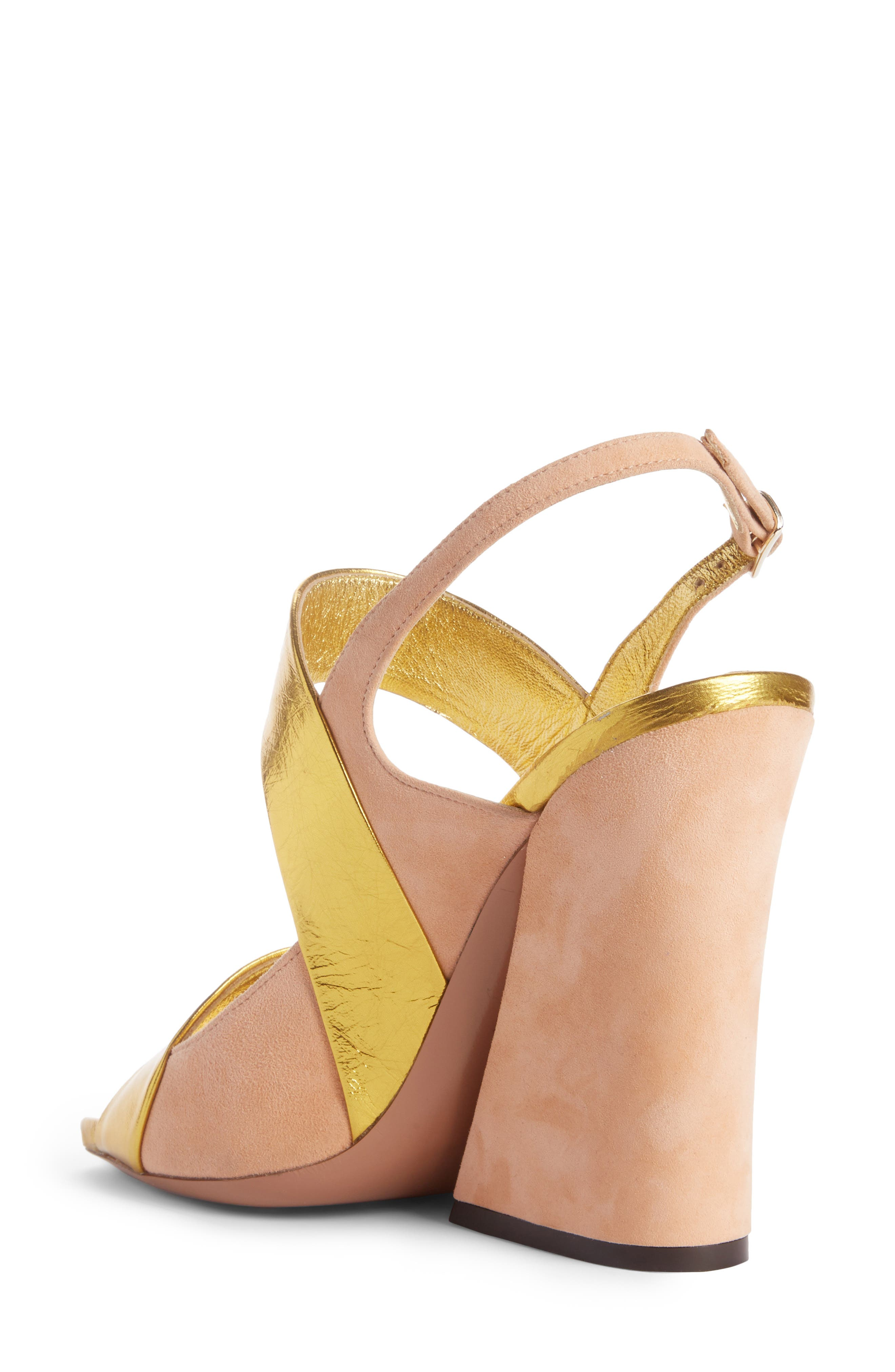 Block Heel Sandal,                             Alternate thumbnail 2, color,                             Gold