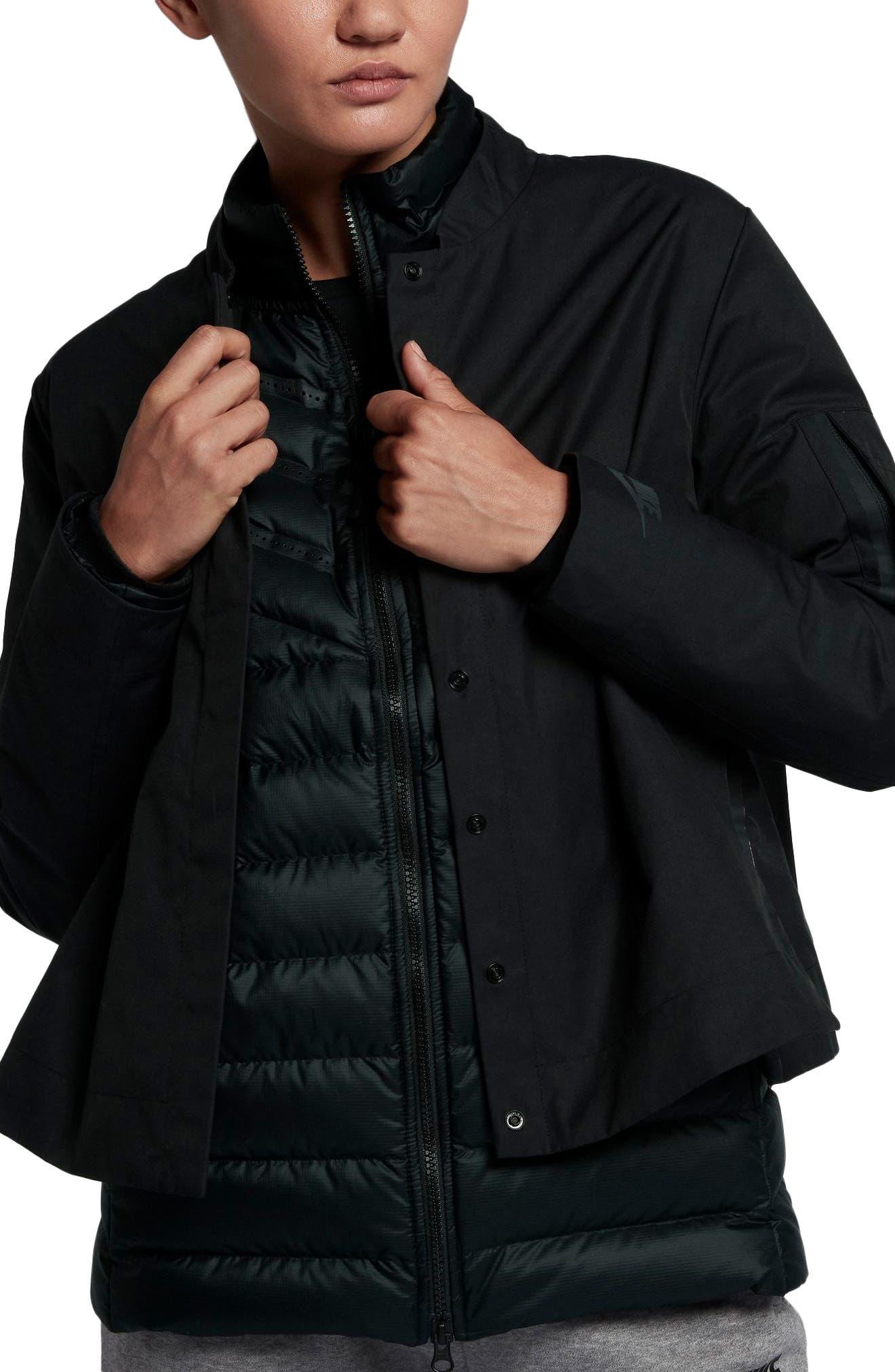 Sportswear AeroLoft 3-in-1 Down Jacket,                             Alternate thumbnail 3, color,                             Black/ Black/ Black