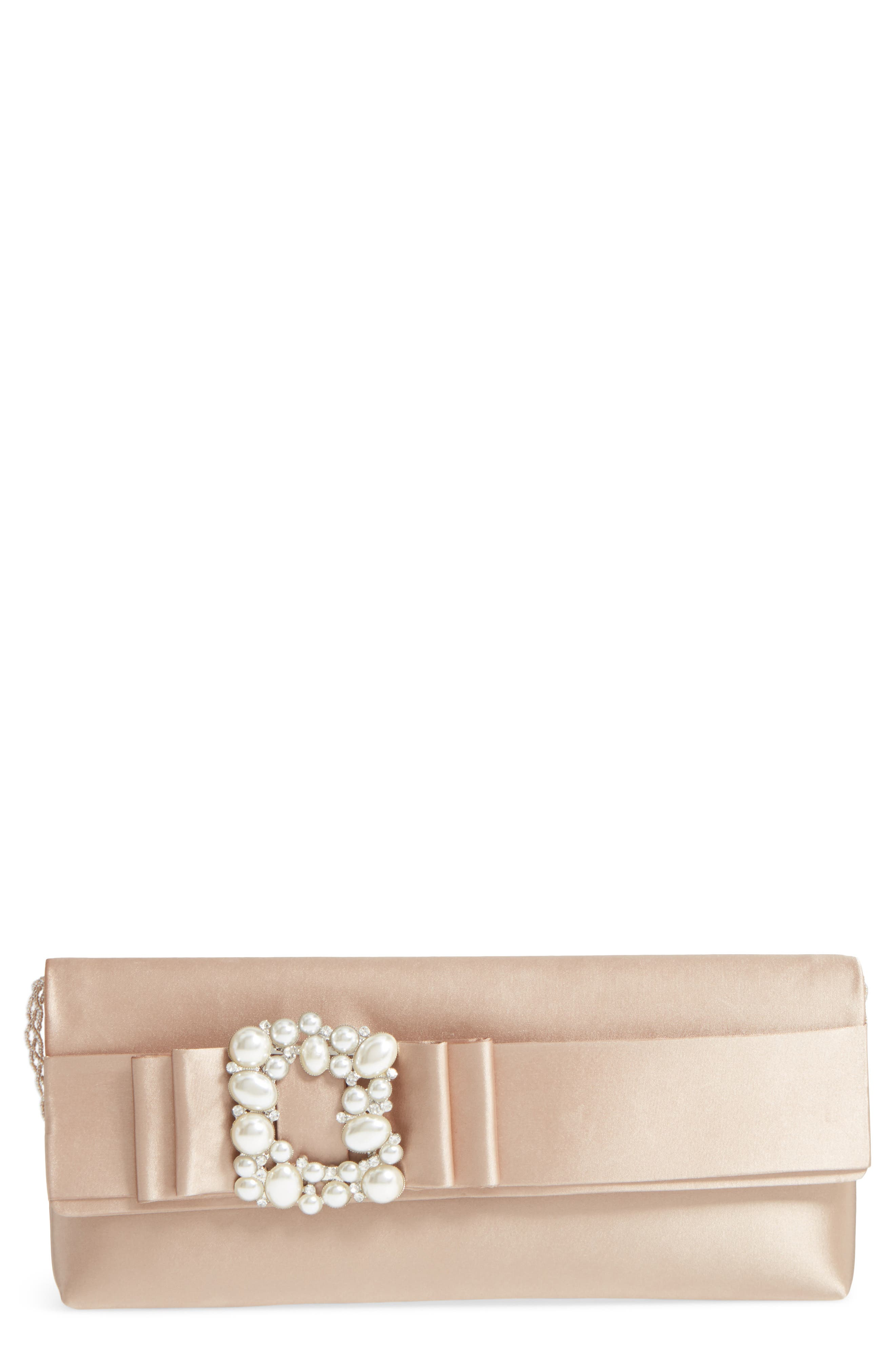 Kalie Embellished Satin Clutch,                             Main thumbnail 1, color,                             Champagne