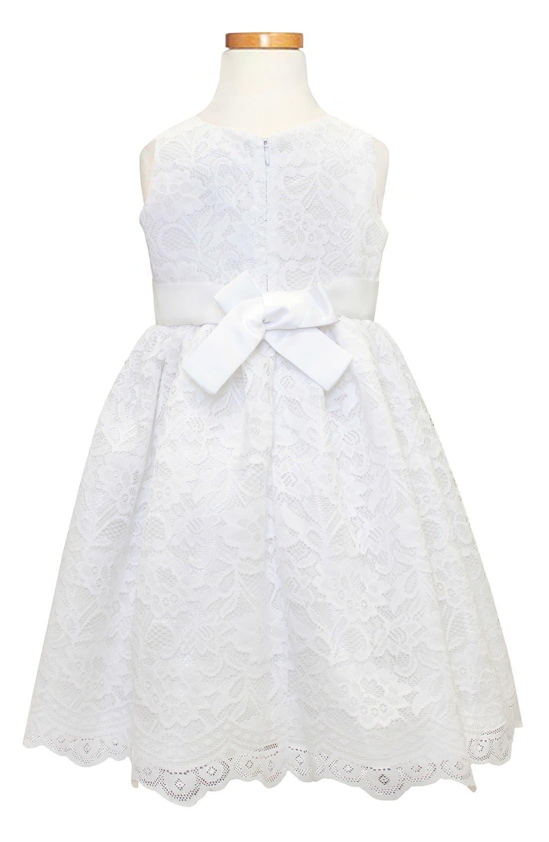 Scallop Lace Dress,                             Alternate thumbnail 2, color,                             White
