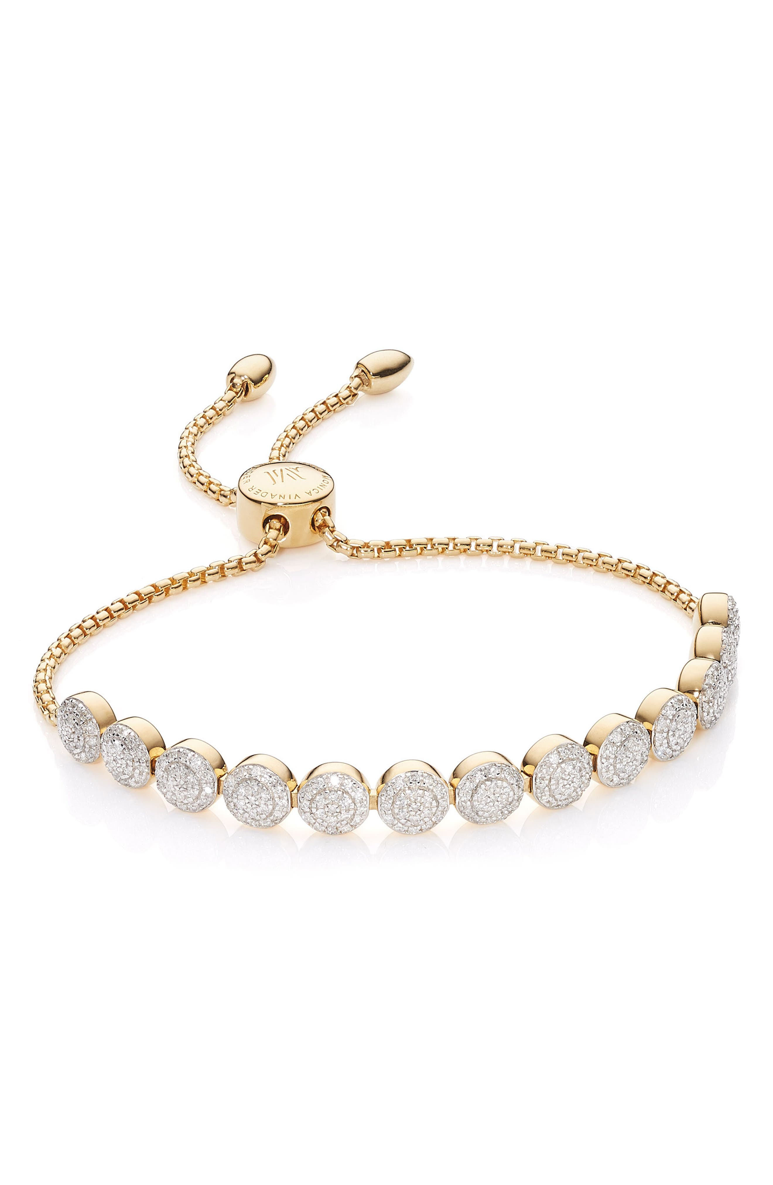 Fiji Beaded Chain Diamond Bracelet,                             Main thumbnail 1, color,                             Gold