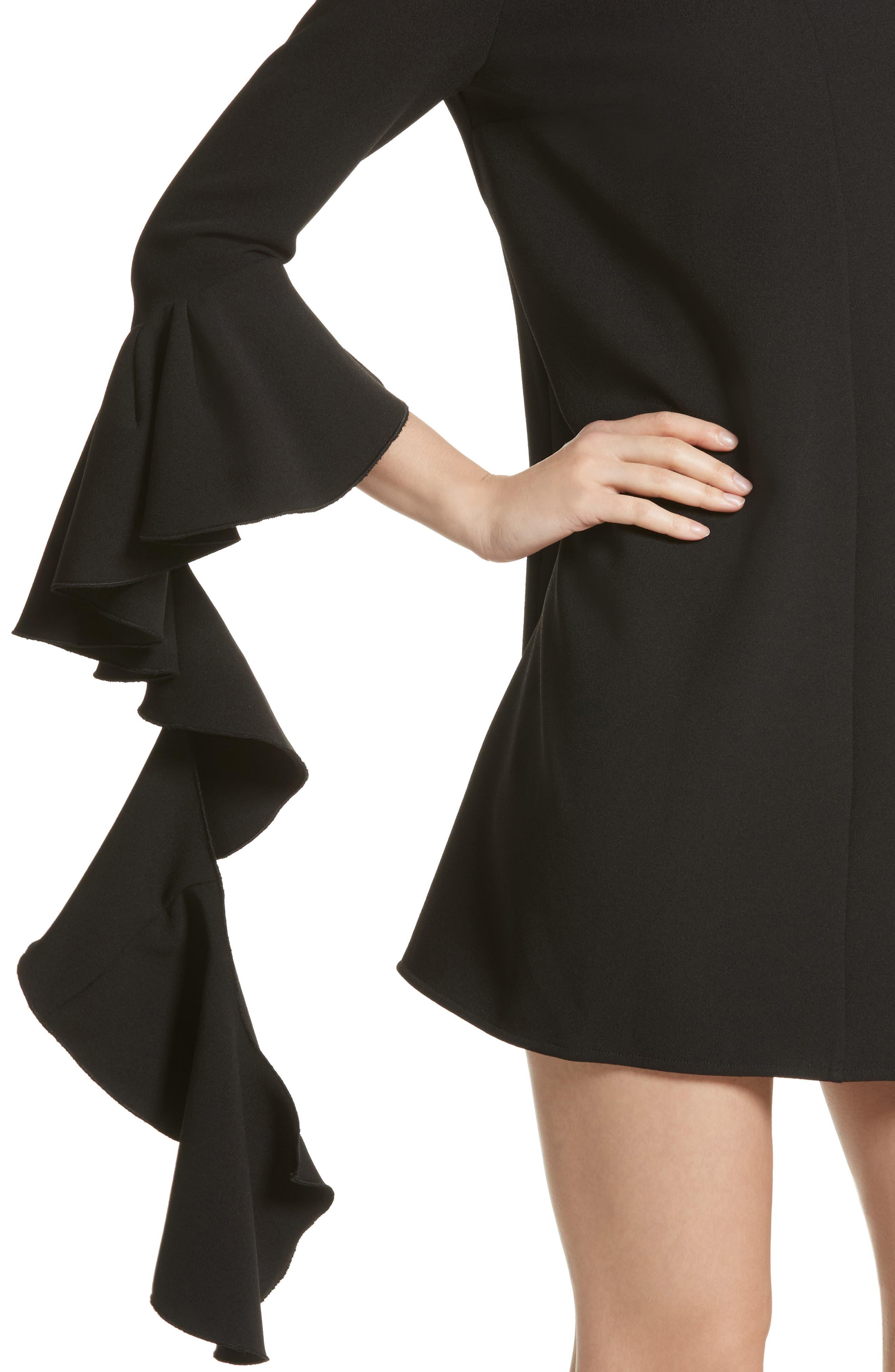 Kilkenny Frill Sleeve Minidress,                             Alternate thumbnail 4, color,                             Black
