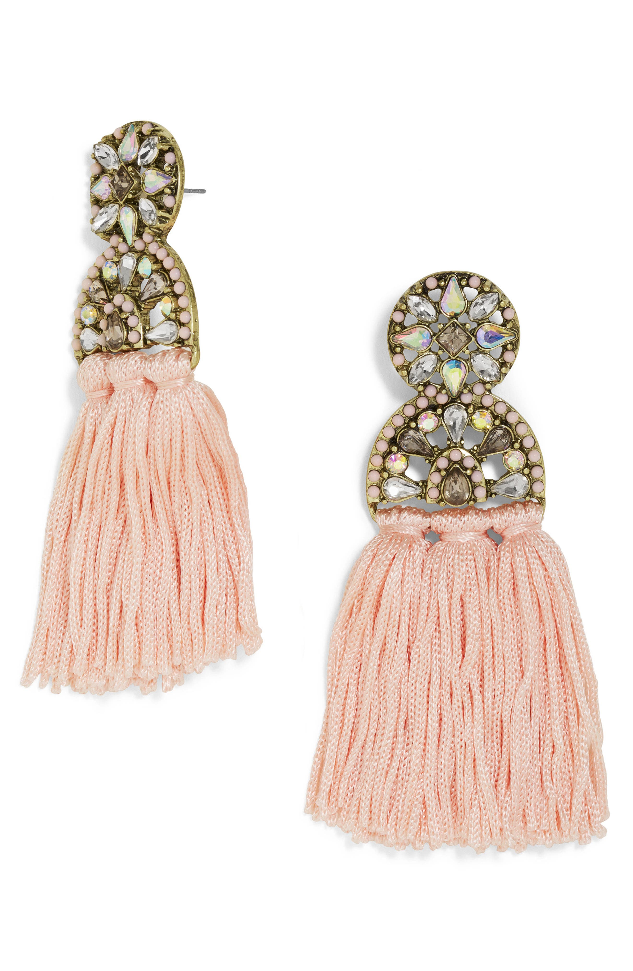 Pisa Tassel Drop Earrings,                         Main,                         color, Blush