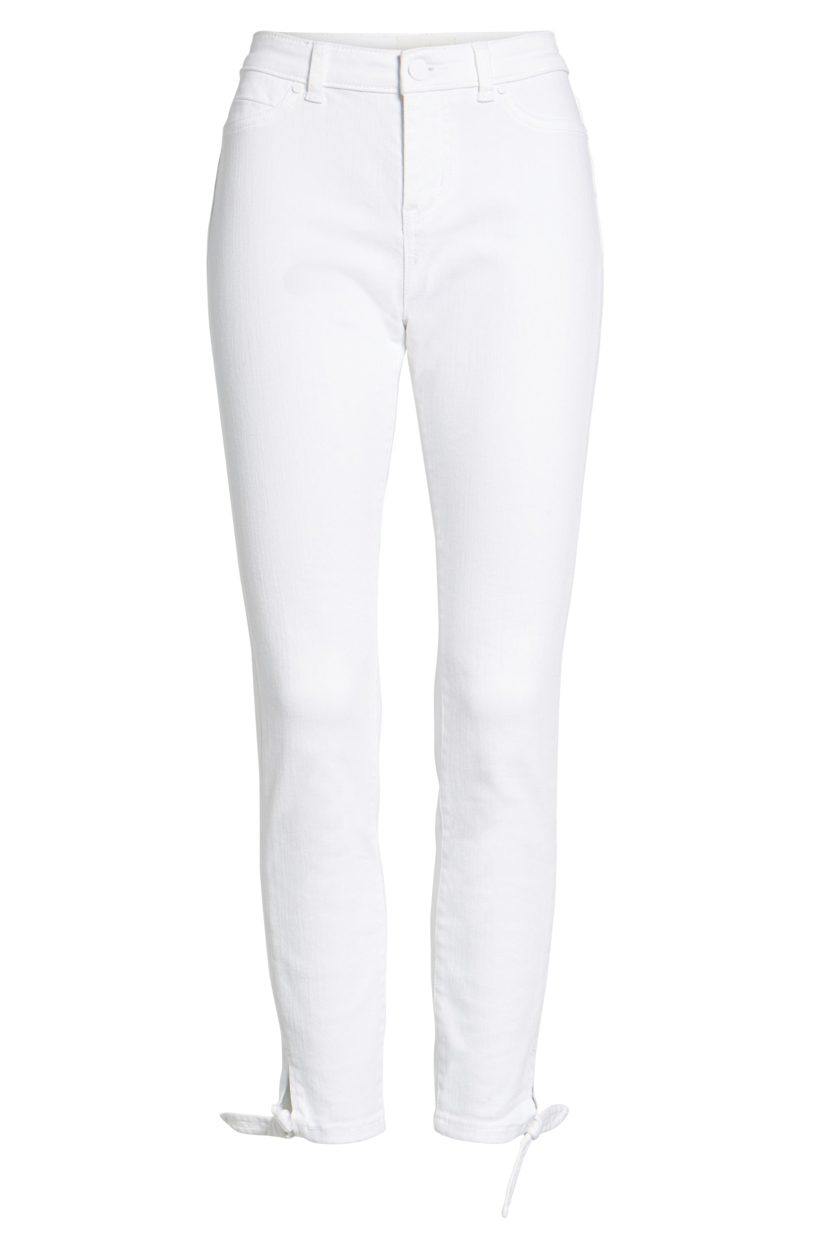 Tie Ankle Skinny Jeans,                             Alternate thumbnail 8, color,                             White