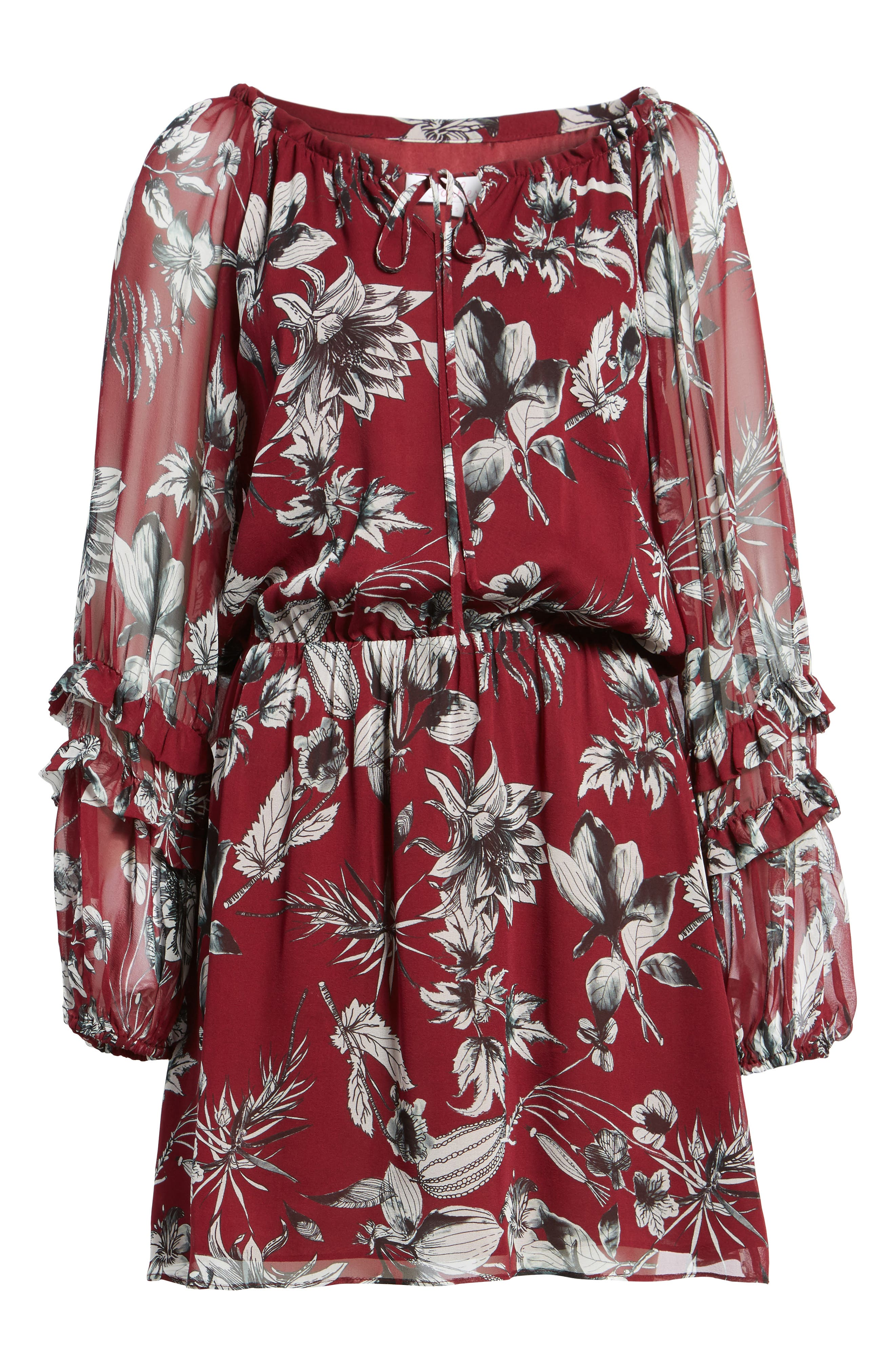 Nicole Silk Blouson Dress,                             Alternate thumbnail 6, color,                             Red Rooted