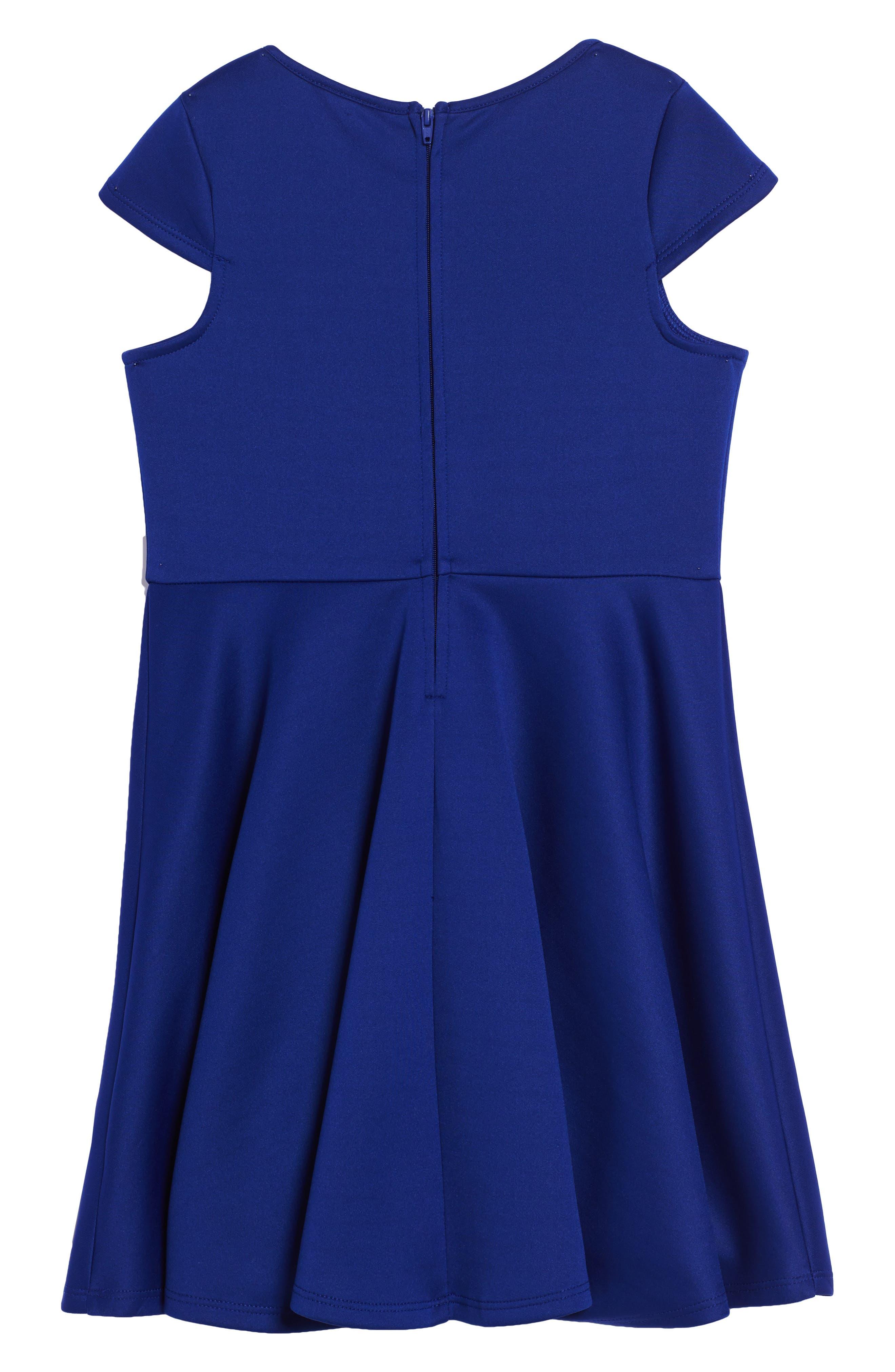 Cap Sleeve Skater Dress,                             Alternate thumbnail 2, color,                             Cobalt