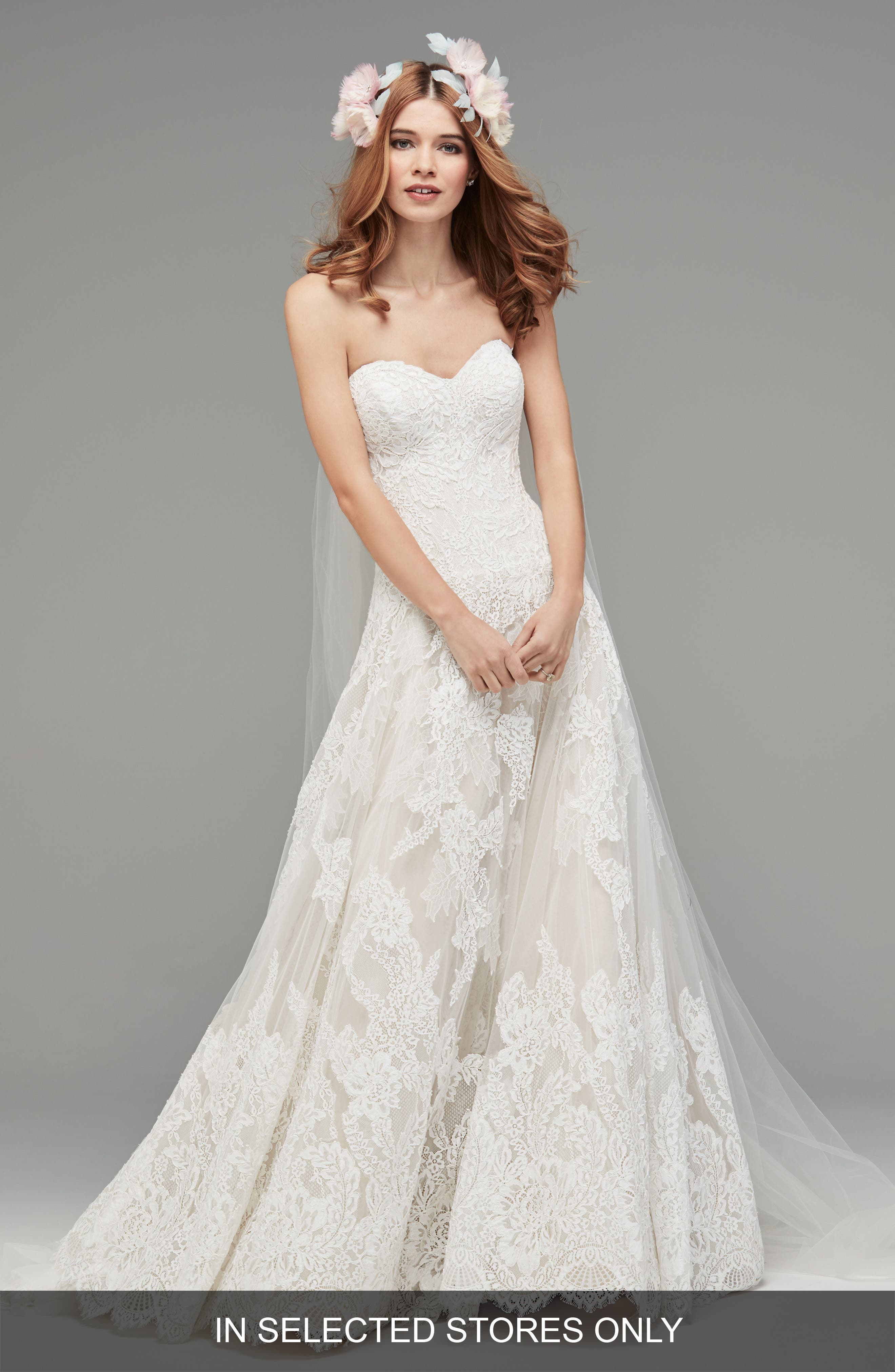 Lyric Strapless Lace Drop Waist Gown,                             Main thumbnail 1, color,                             Ivory/Nude