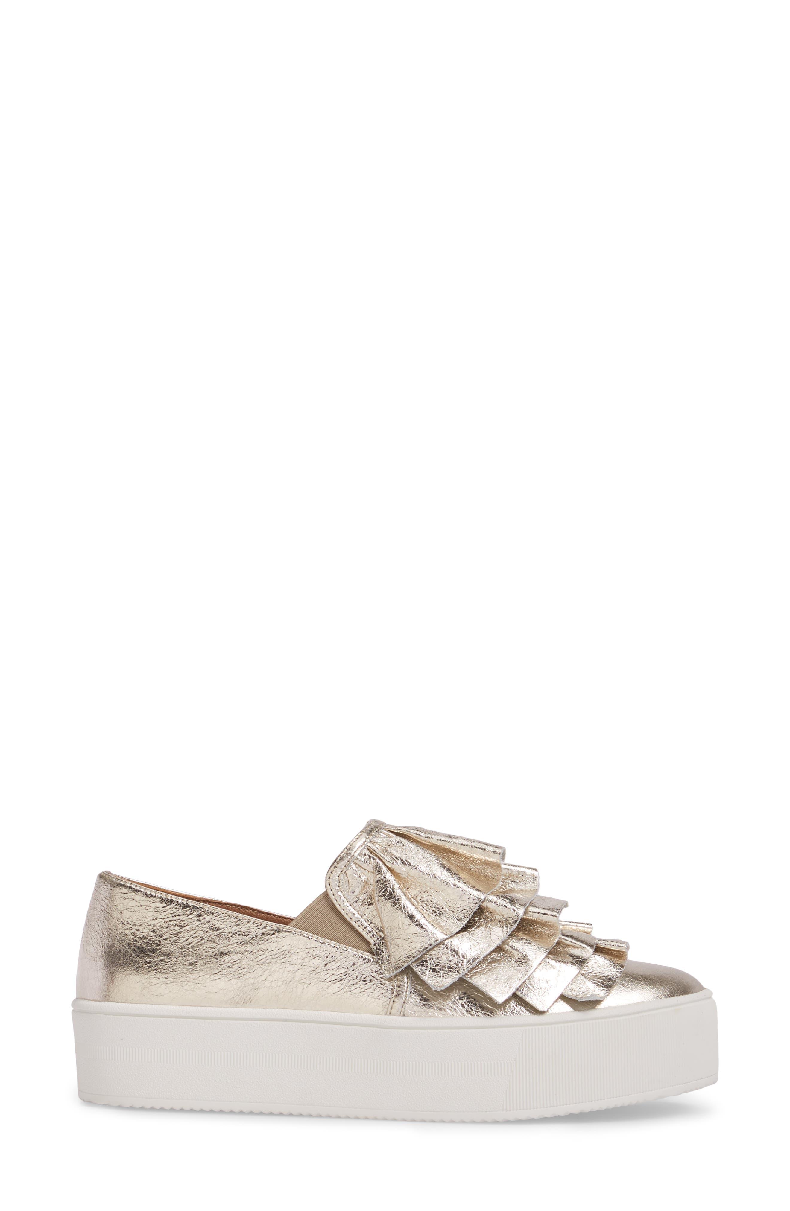 Marian Platform Sneaker,                             Alternate thumbnail 3, color,                             Gold Leather