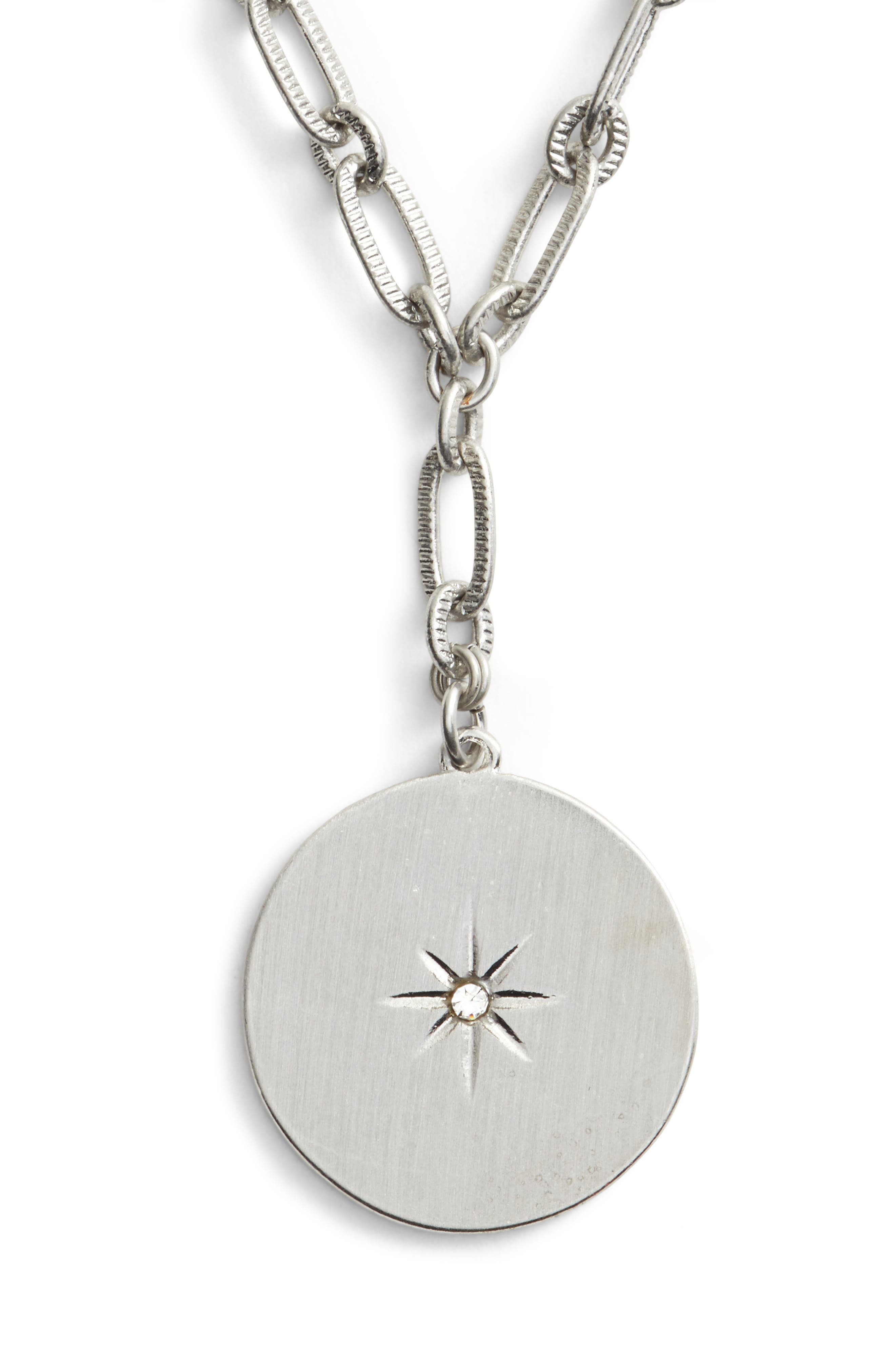 Star Disc Short Y Necklace,                             Main thumbnail 1, color,                             Clear- Rhodium