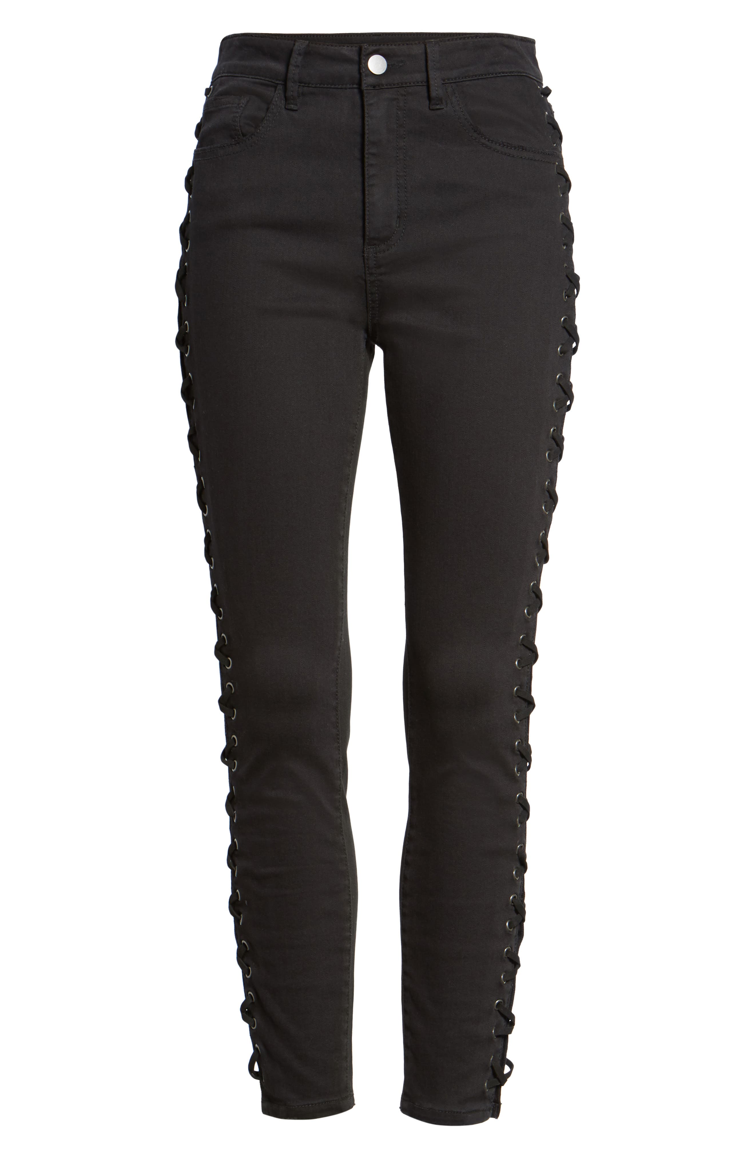 Lace-Up Skinny Jeans,                             Alternate thumbnail 6, color,                             Black Rinse Wash