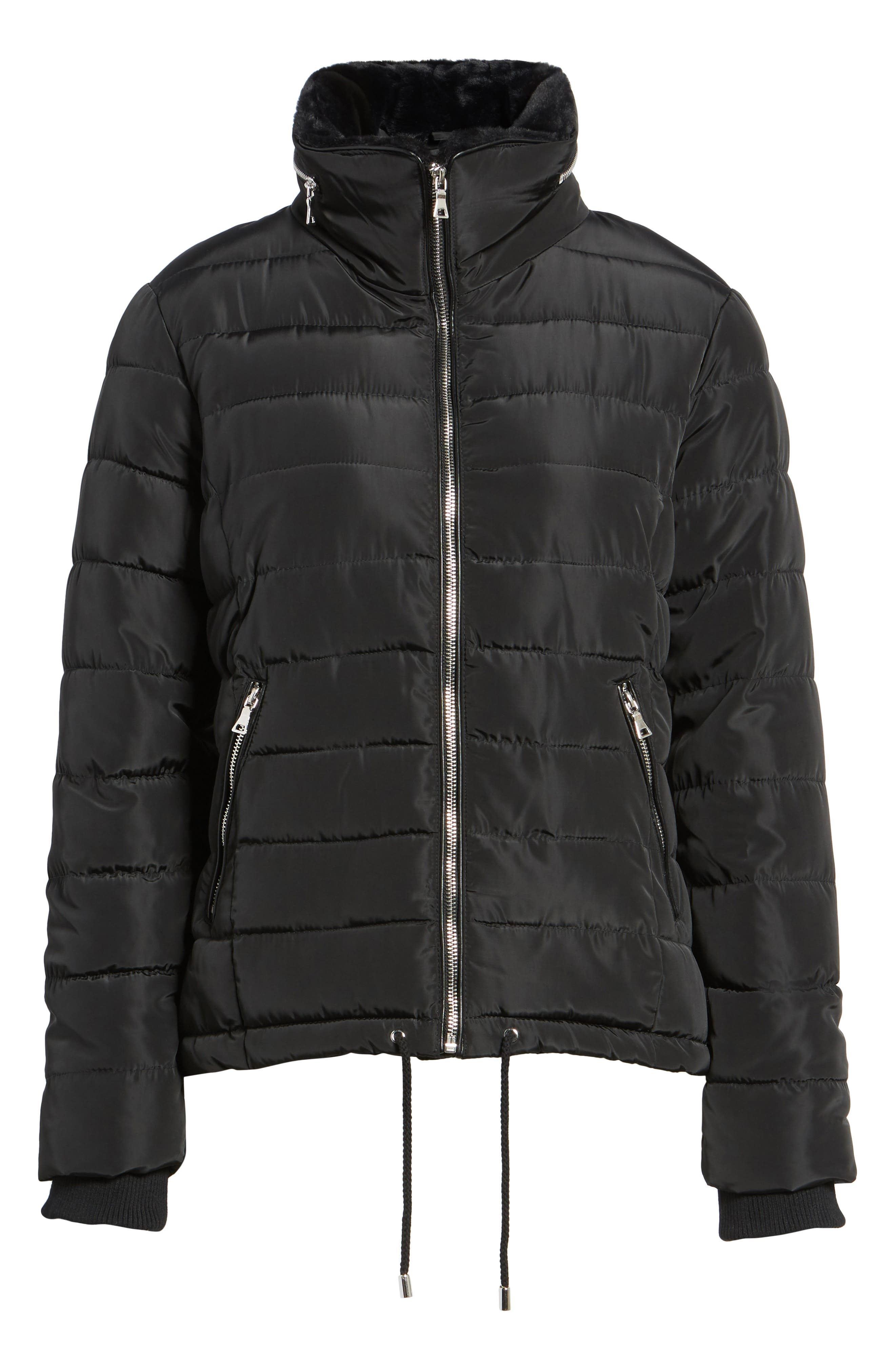 Puffer Jacket with Faux Fur,                             Alternate thumbnail 5, color,                             Black