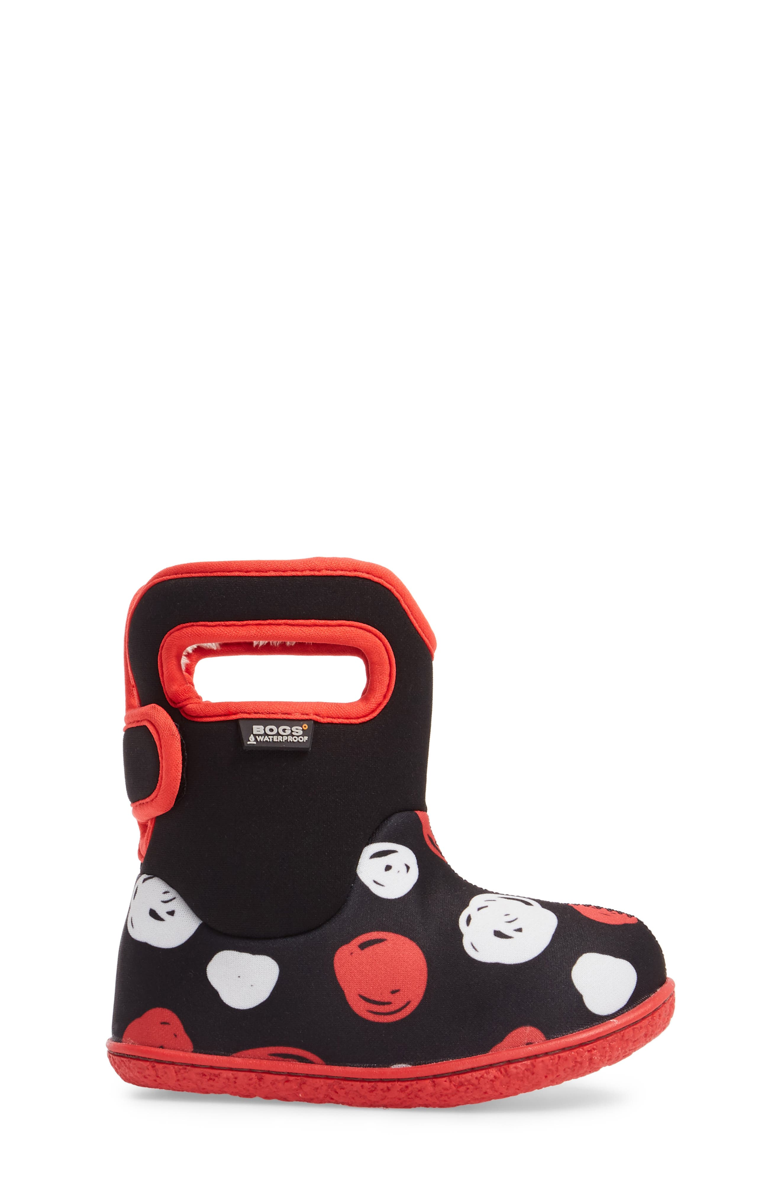Baby Bogs Classic Sketched Dots Washable Insulated Waterproof Boot,                             Alternate thumbnail 3, color,                             Black/ Red Multi