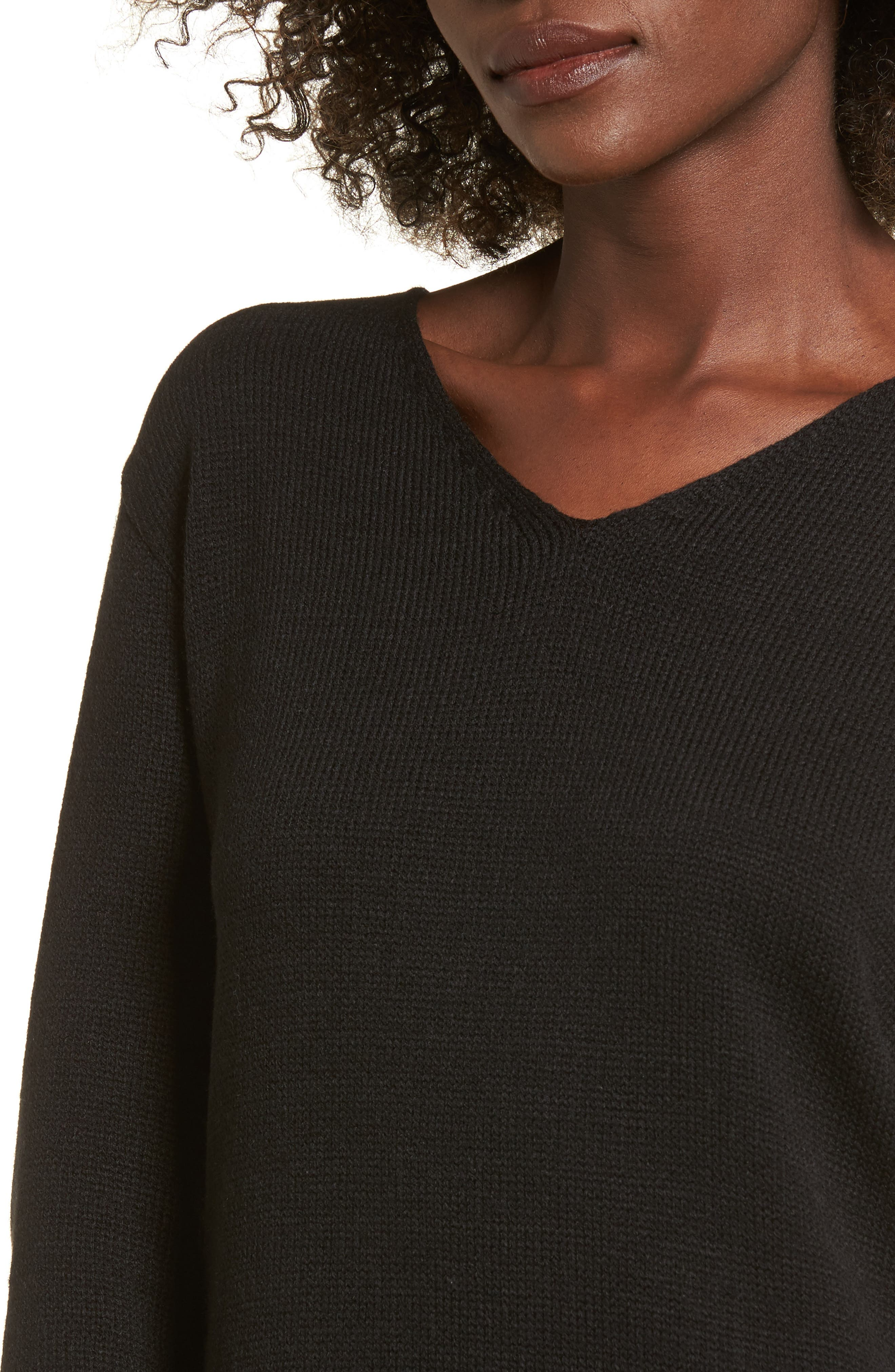 Sweater Dress,                             Alternate thumbnail 4, color,                             Black