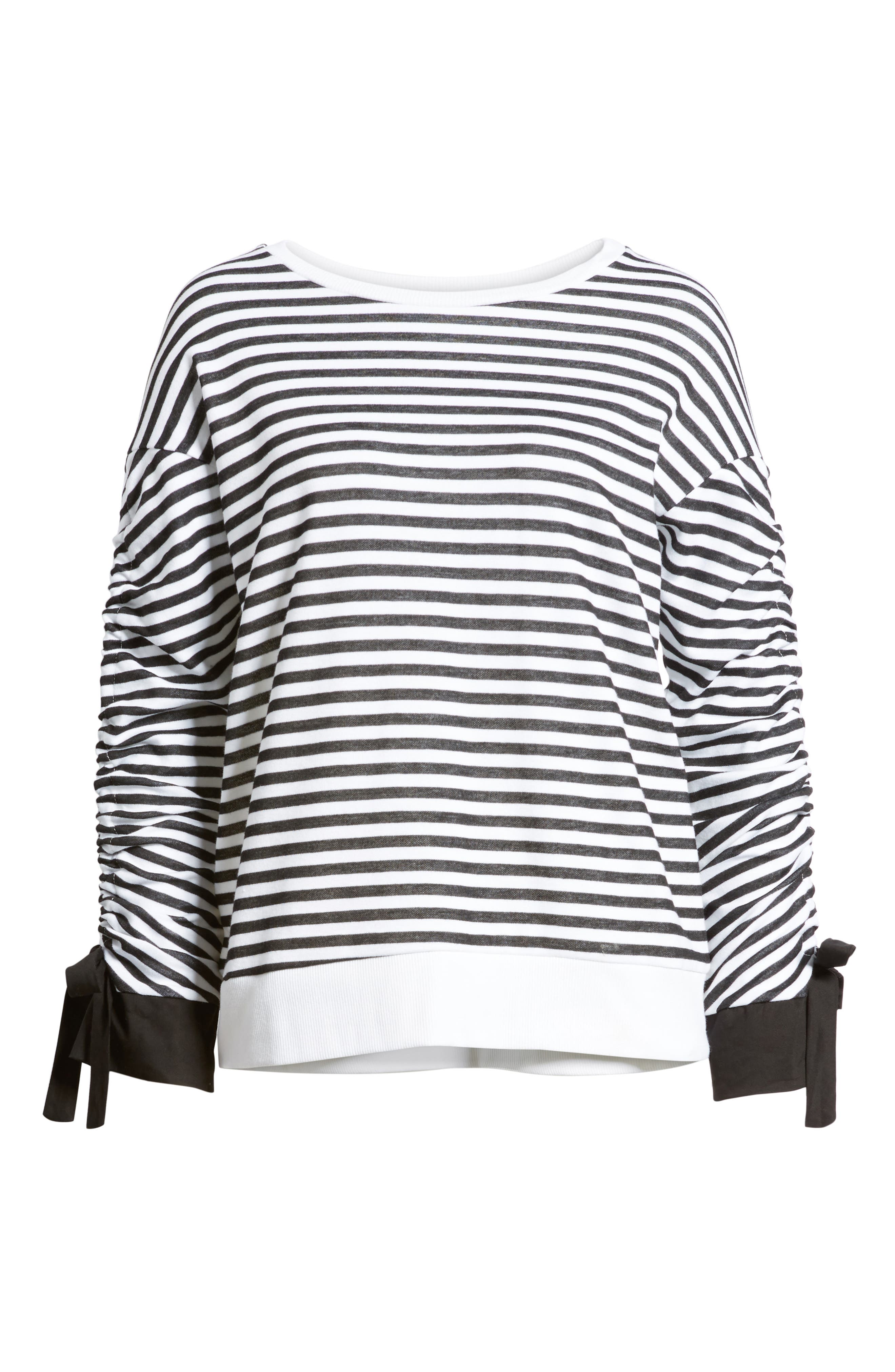 Ruched Sleeve Poplin Trim Sweatshirt,                             Alternate thumbnail 6, color,                             Black- White Stripe