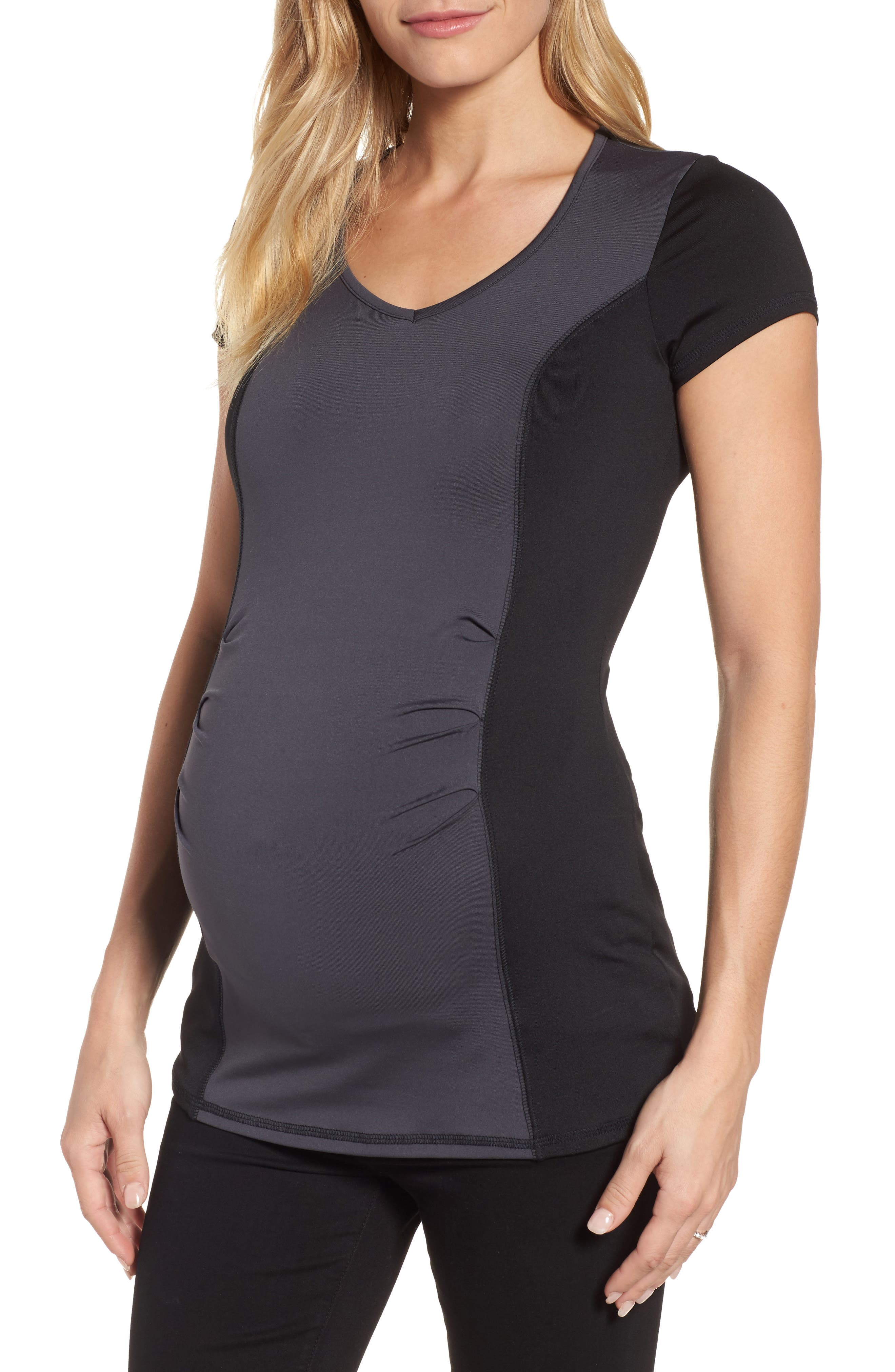 Colorblock Maternity Top,                             Main thumbnail 1, color,                             Charcoal/ Black