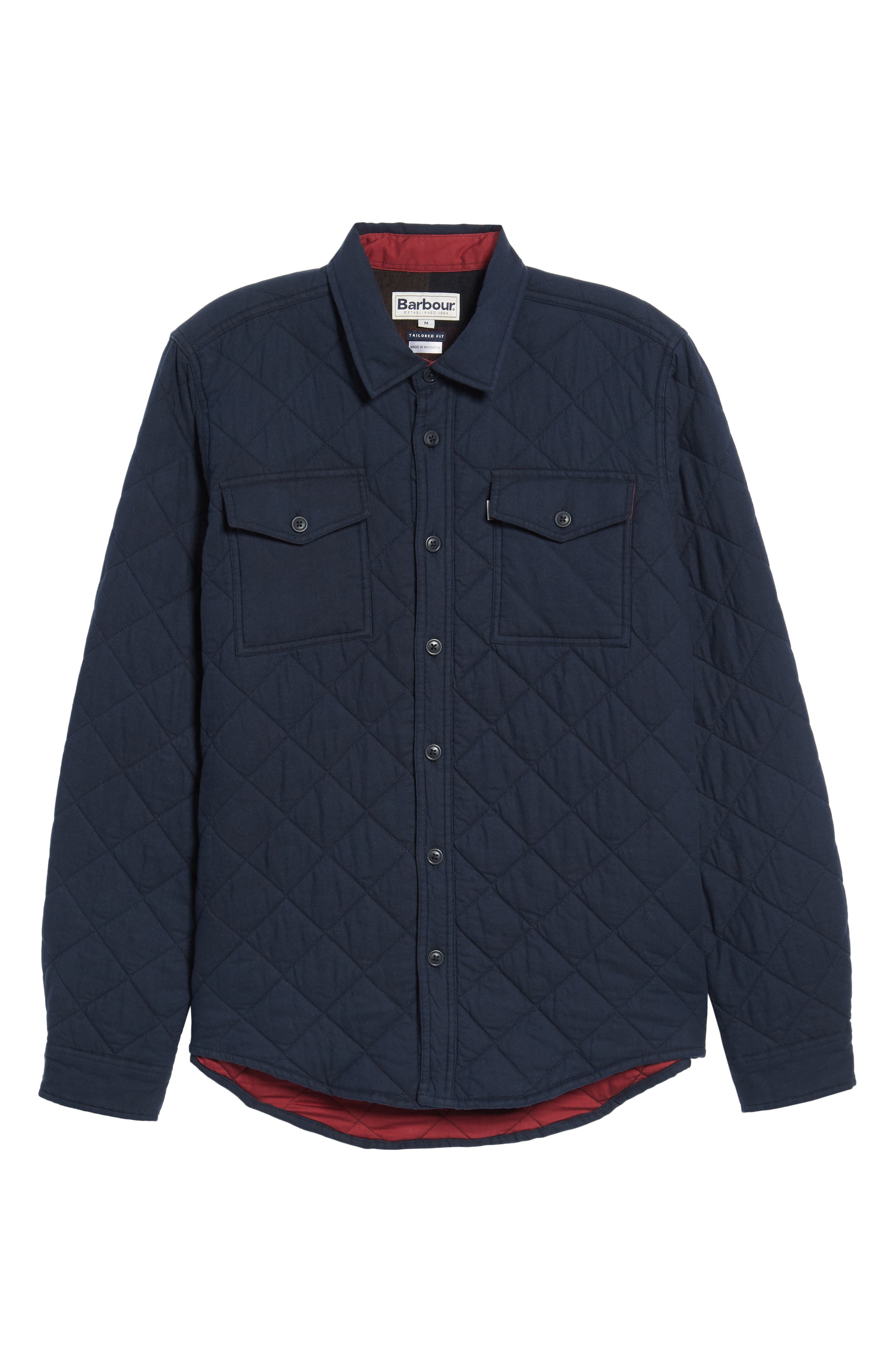Quilted Shirt Jacket,                             Alternate thumbnail 6, color,                             Navy