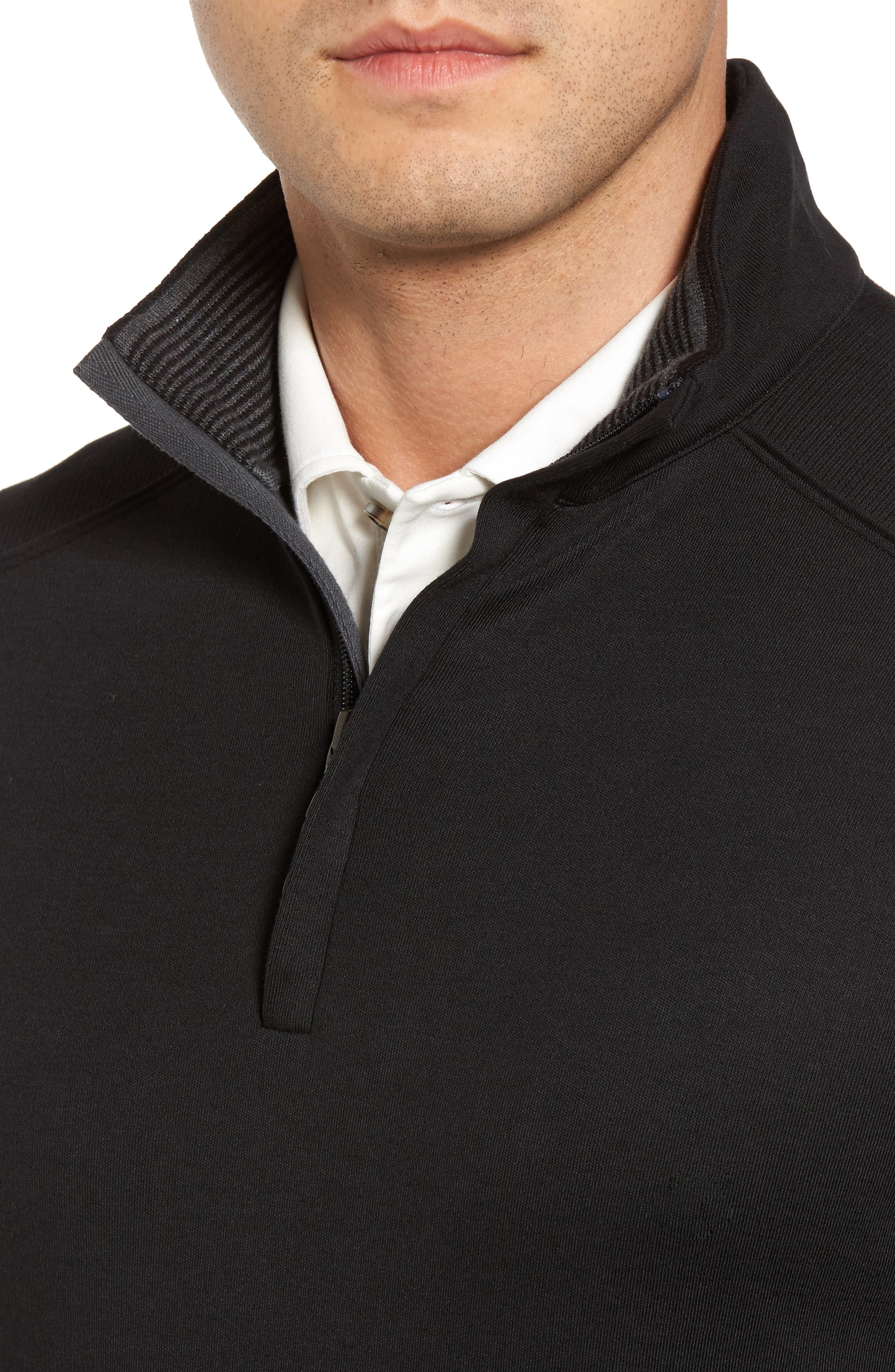 Interlock Knit Quarter Zip Pullover,                             Alternate thumbnail 4, color,                             Black
