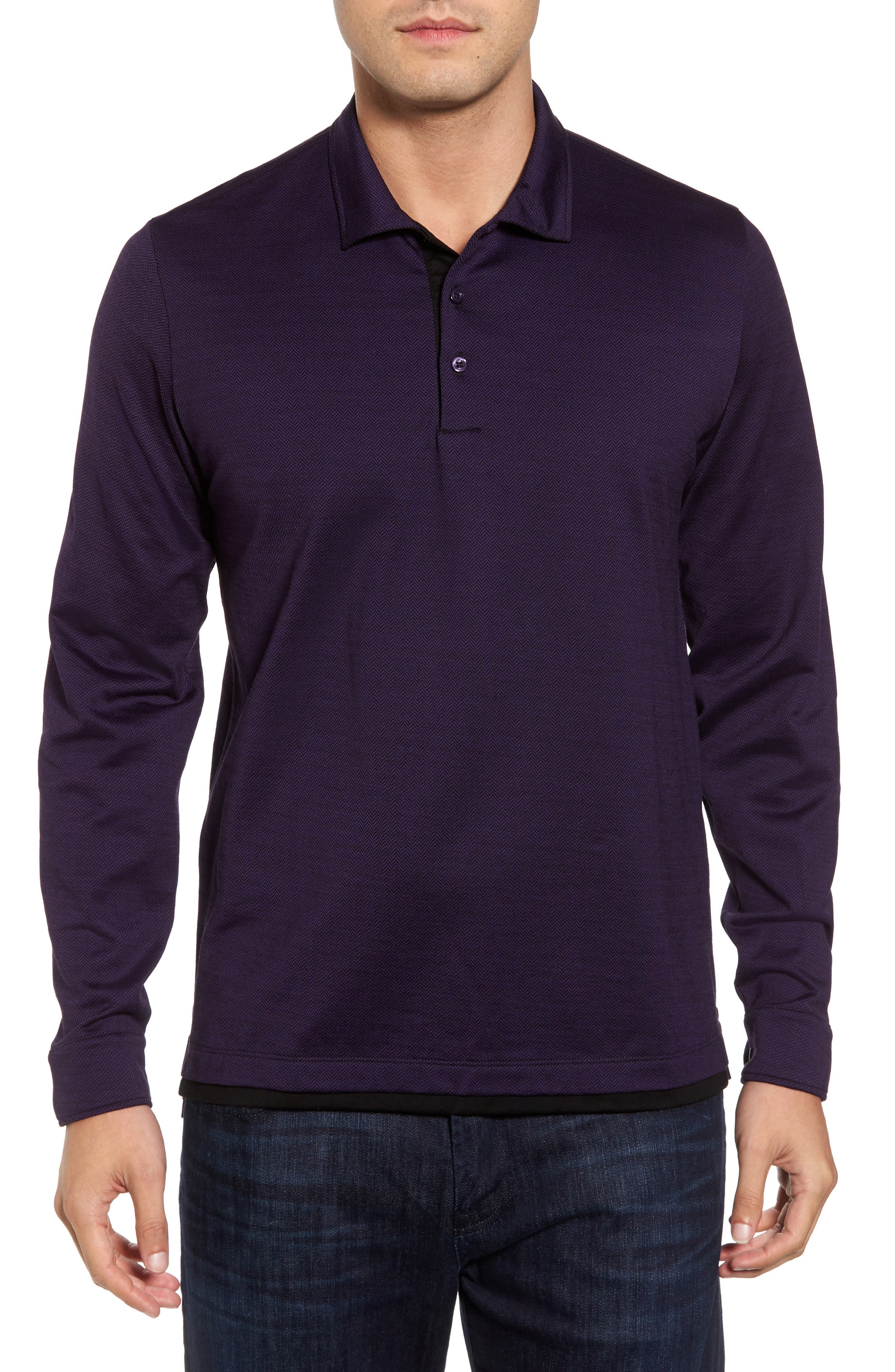 Herringbone Jacquard Polo,                         Main,                         color, Purple